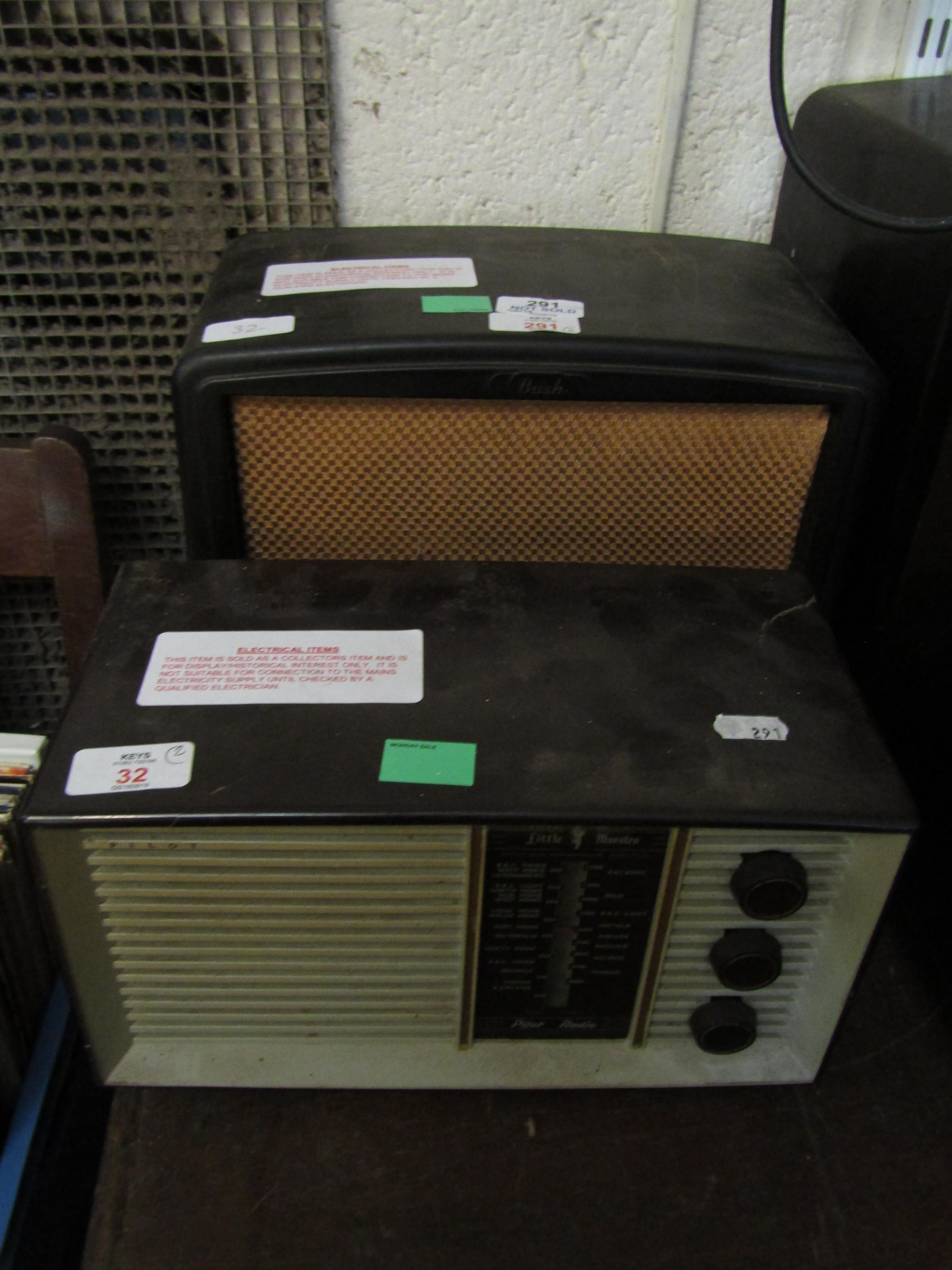 Lot 32 - MIXED LOT: COMPRISING TWO VARIOUS RADIOS, THE FIRST BUSH RADIO, AC-DC RECEIVER, TYPE VHF90 WITH