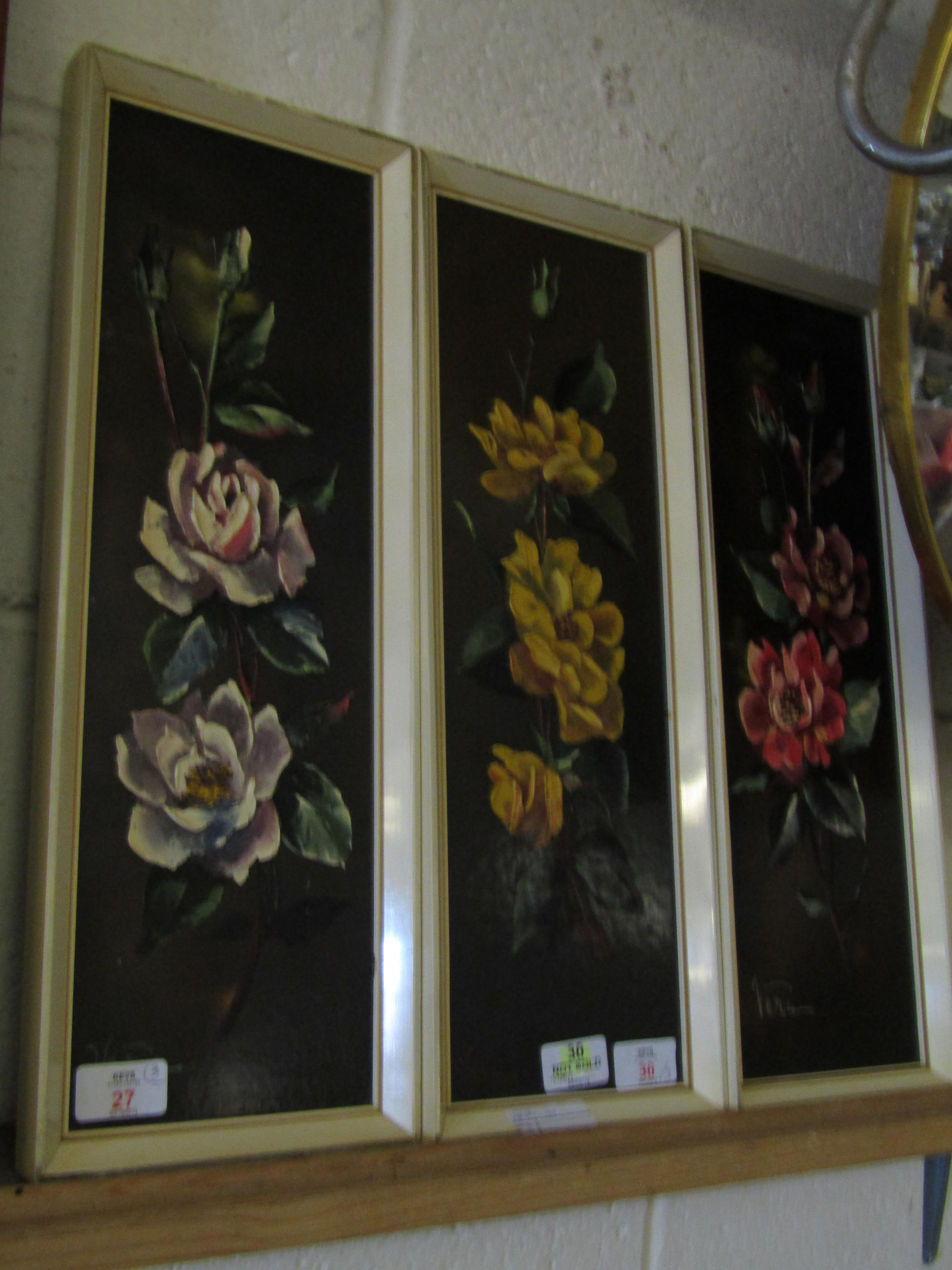 Lot 27 - THREE FRAMED OILS ON PANELS OF FLOWERS