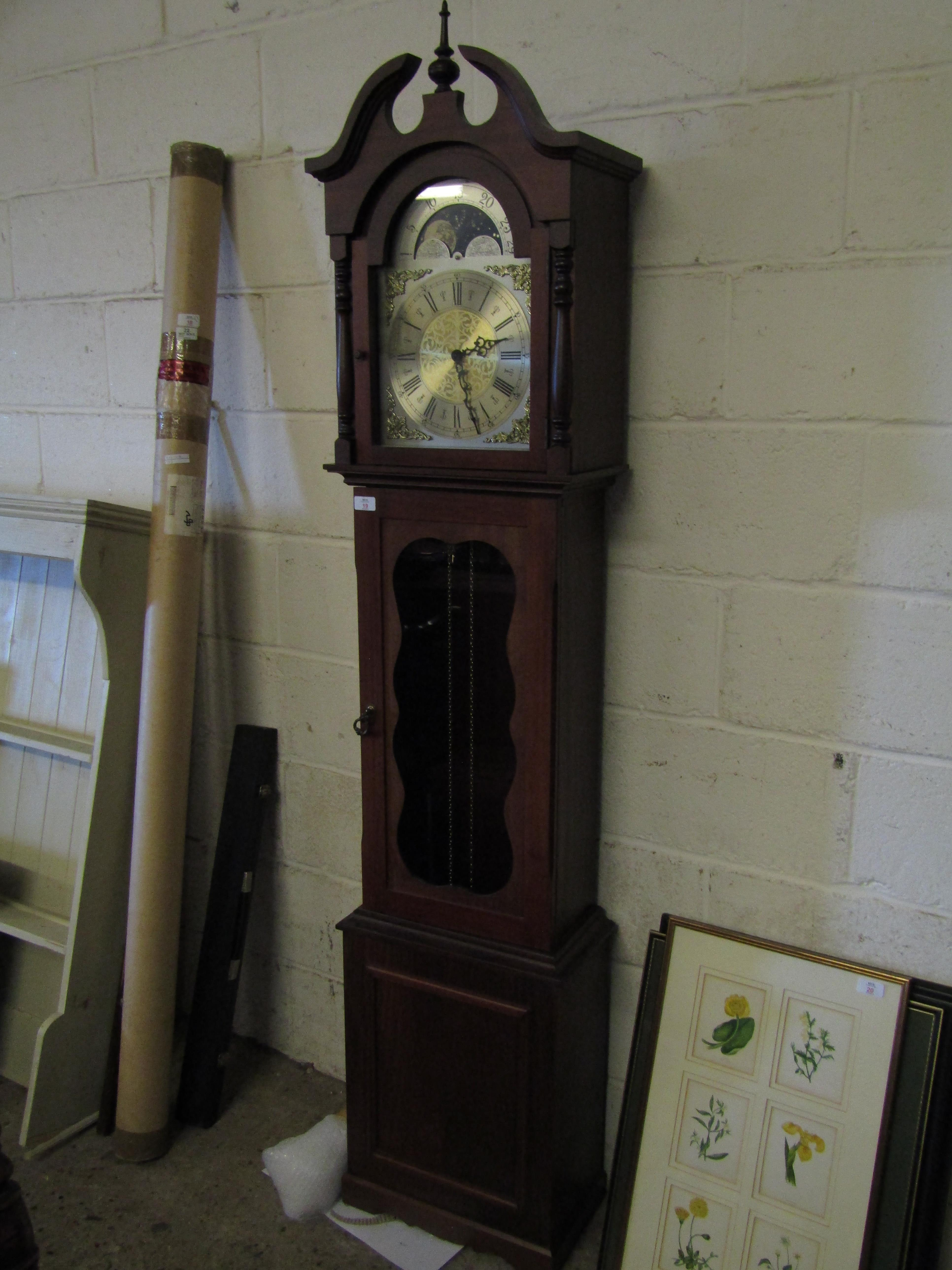 Lot 19 - TEAK LONG CASE CLOCK WITH SILVER DIAL AND MOON ROLLER