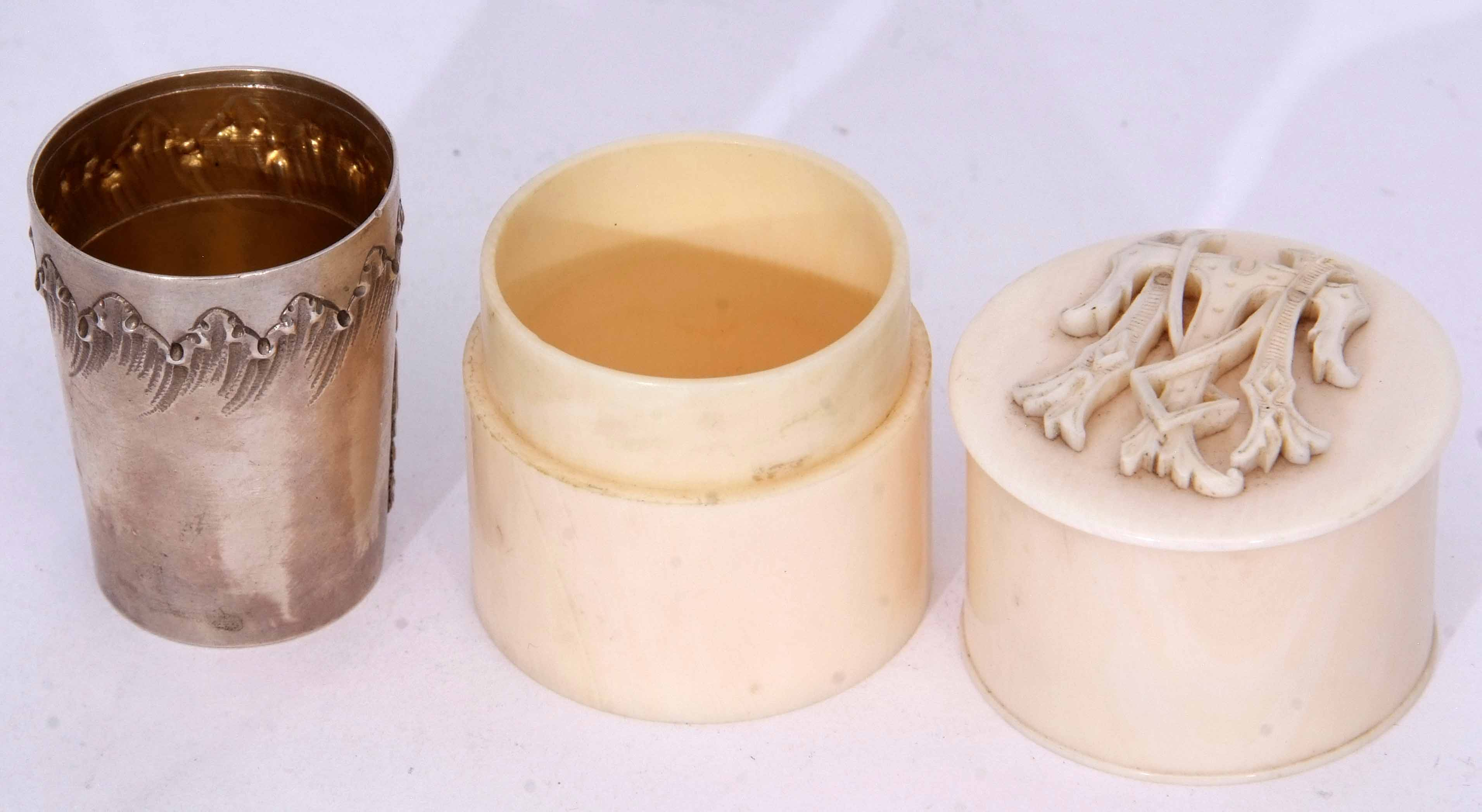 Lot 2055 - Late 19th/early 20th century ivory cylindrical canister, the pull off cover set with carved monogram