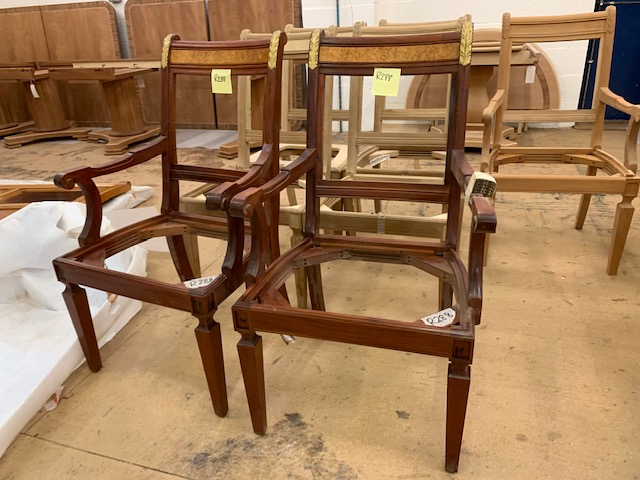 Lot 1 - Pair of gilt-trimmed Chairs (require seats/upholstery)