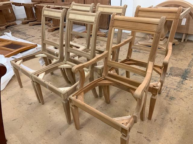 Lot 60 - Set of six stuff-over Chairs (require finish/polishing).