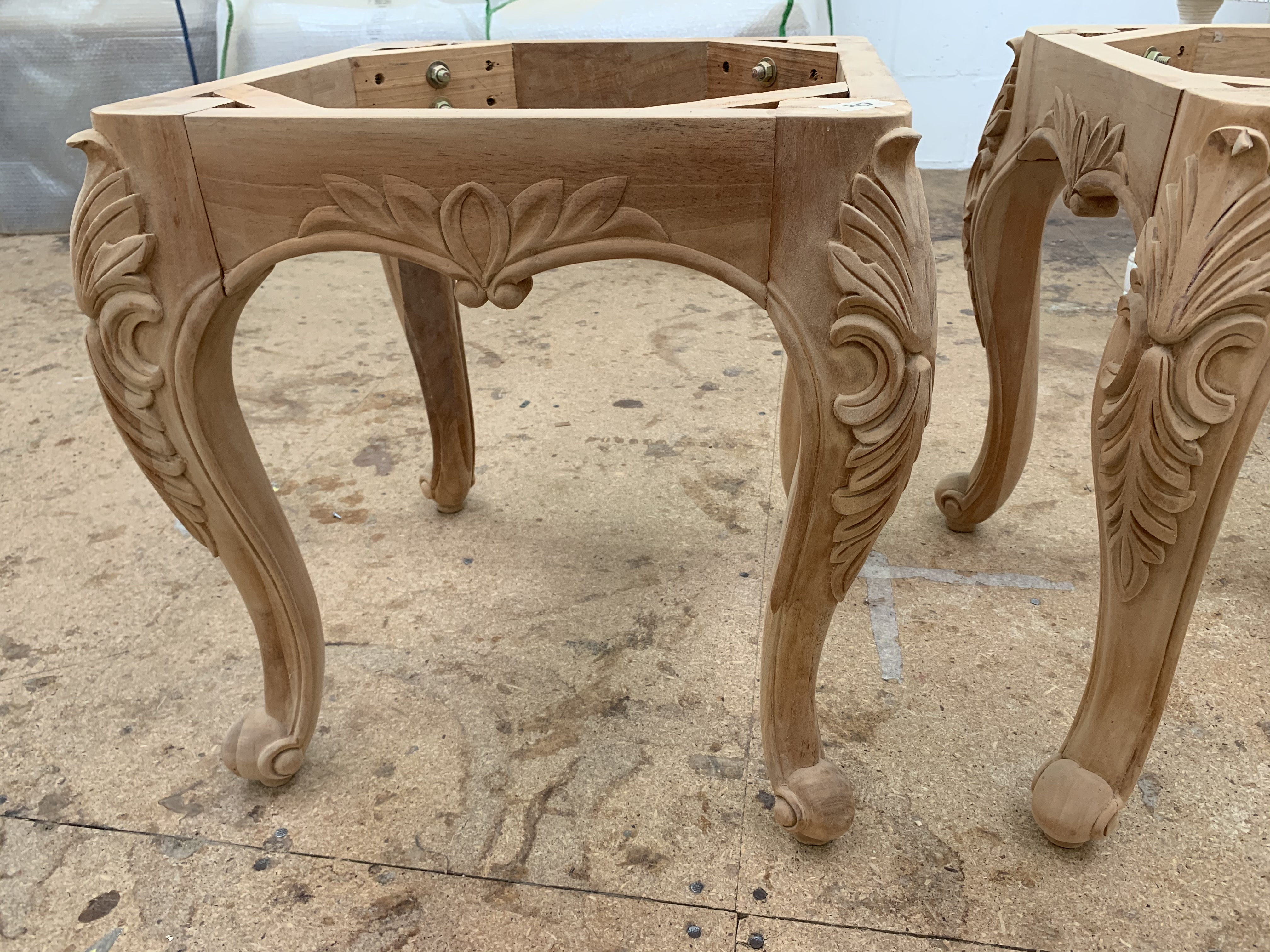 Lot 53 - Carved square small Table or Stool base, approx 2', requires finishing/polshing.