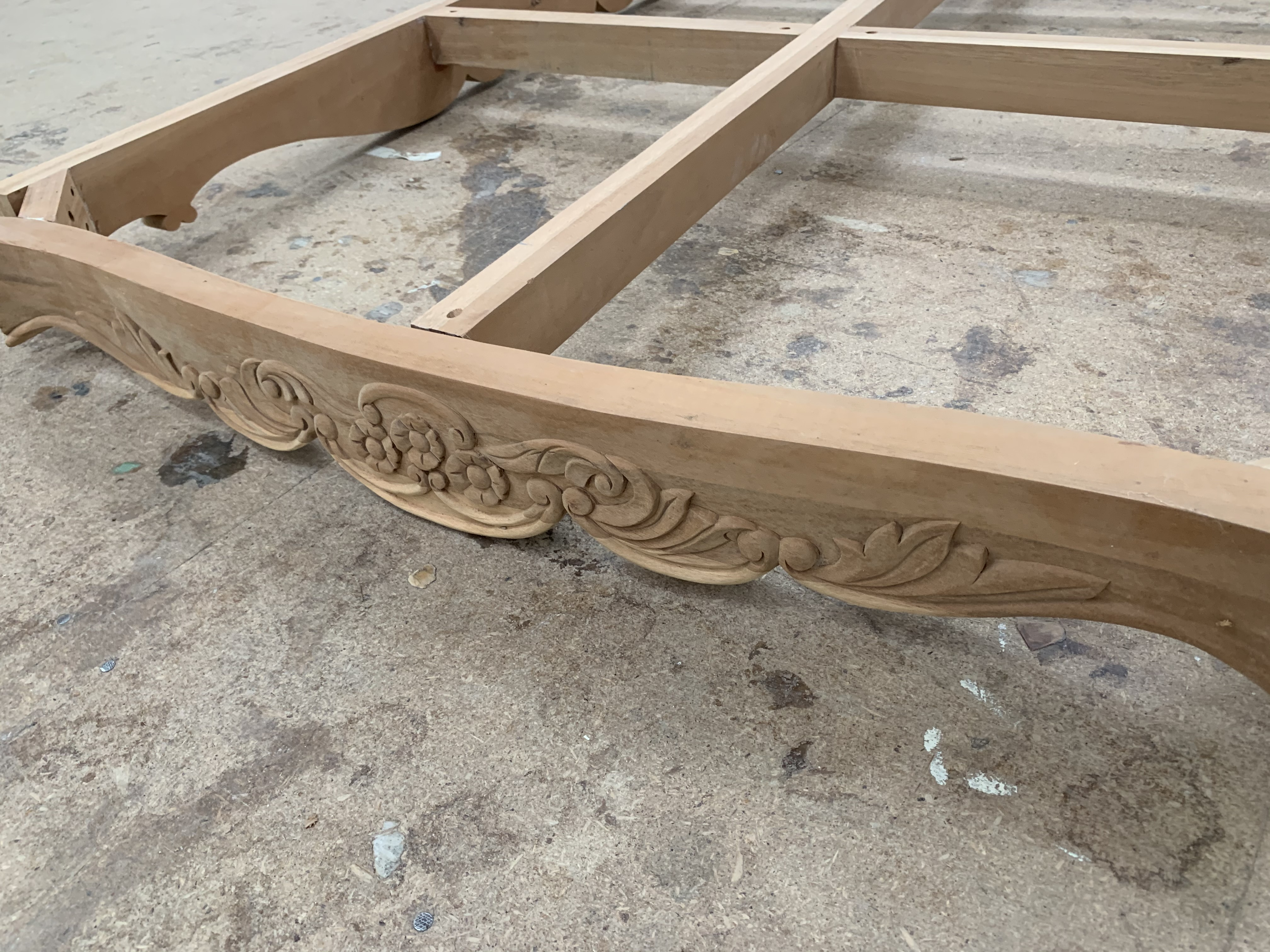 Lot 54 - Large decorative carved Coffee Table Frame and Legs, approx 6' x 4', requires finishing/polishing (