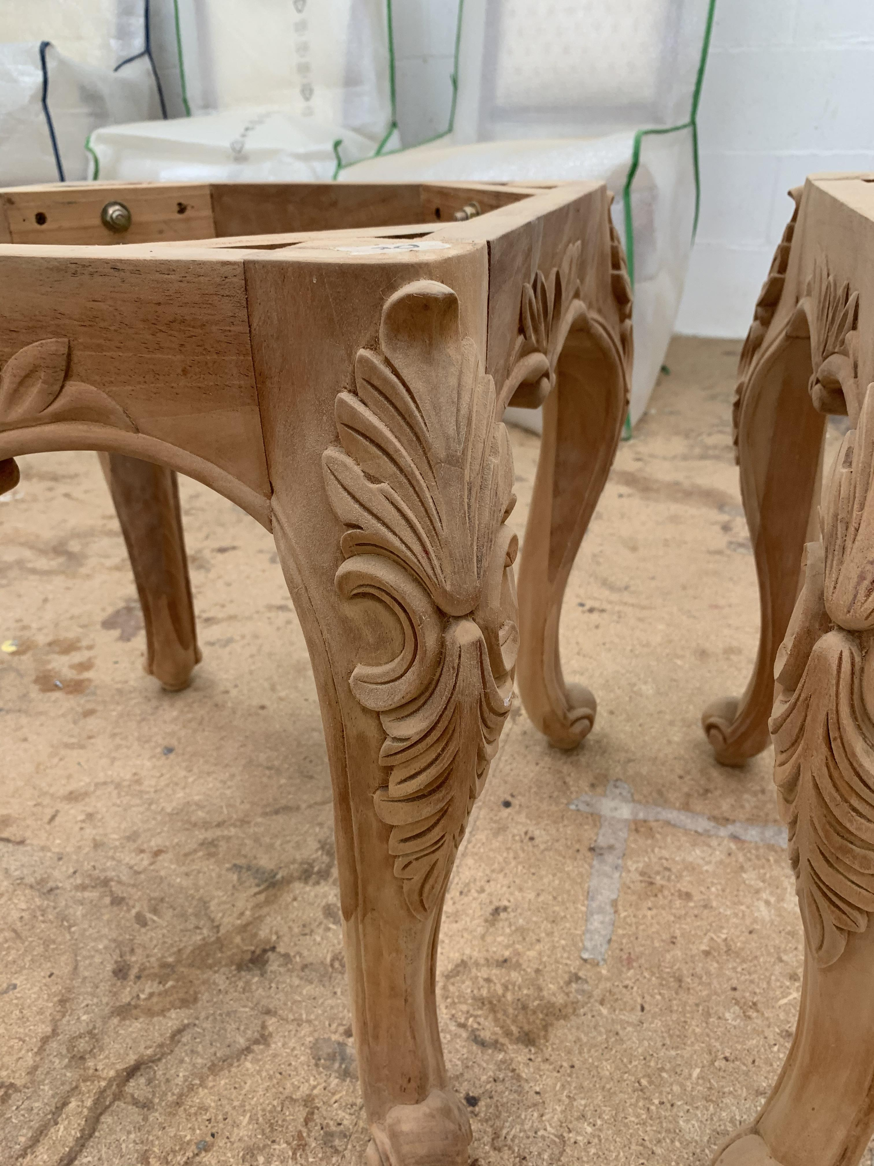 Lot 52 - Carved square small Table or Stool base, approx 2', requires finishing/polshing.
