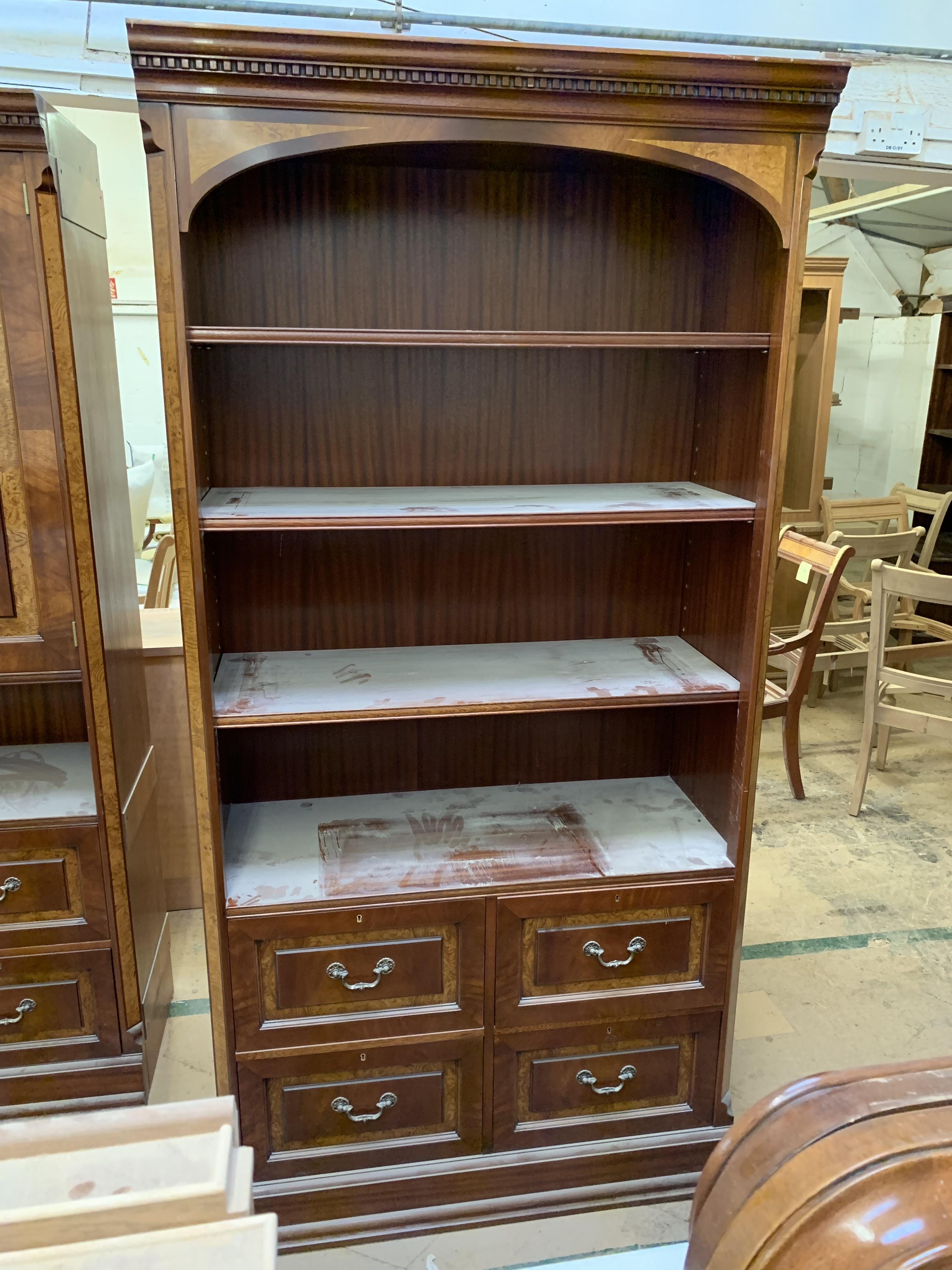 Lot 25 - Modular wall filing Units (3-part), comprising central shelved unit flanked by drawer units.