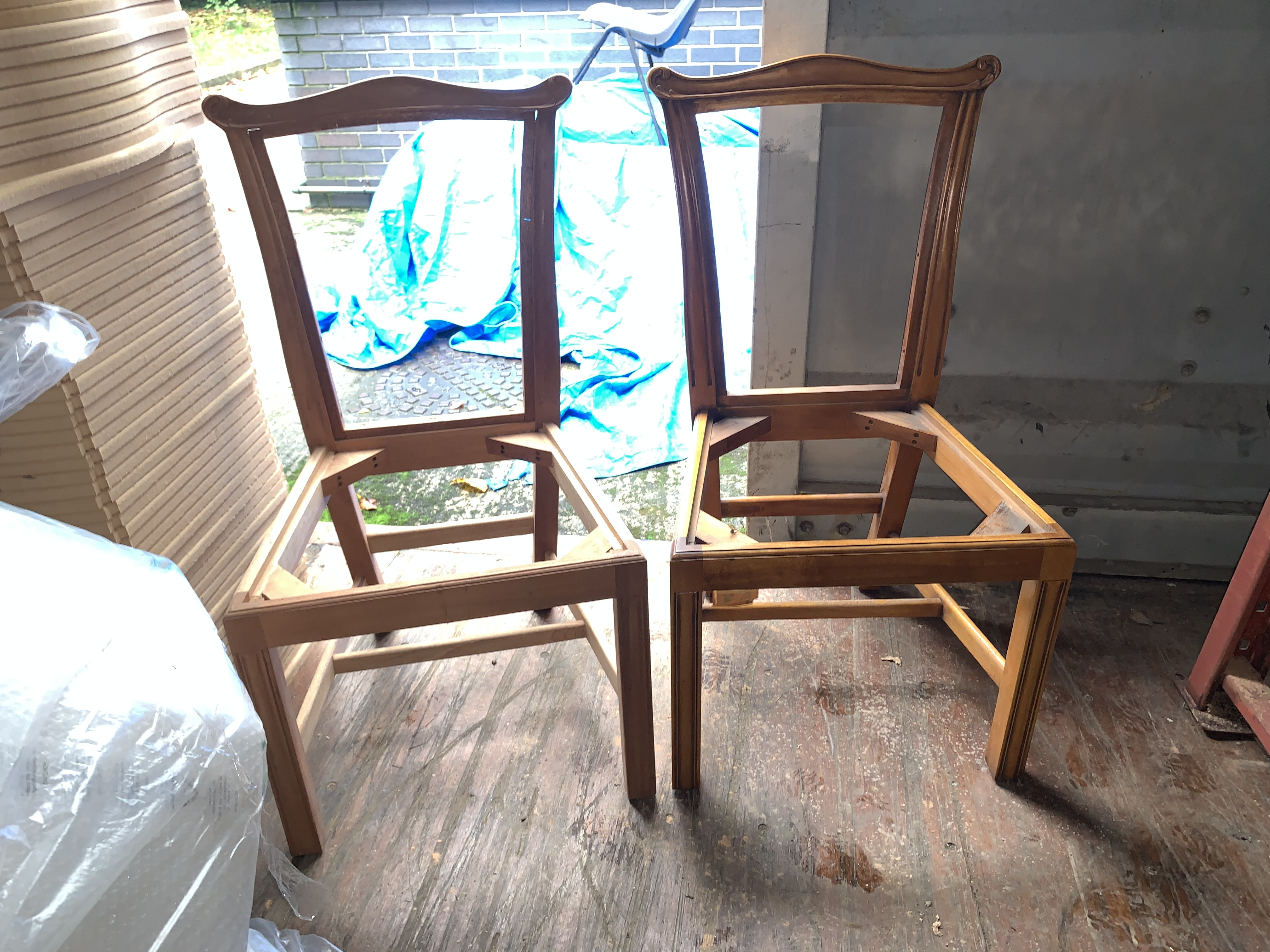 Lot 61 - two various Chair Frames, require finishing/polishing.