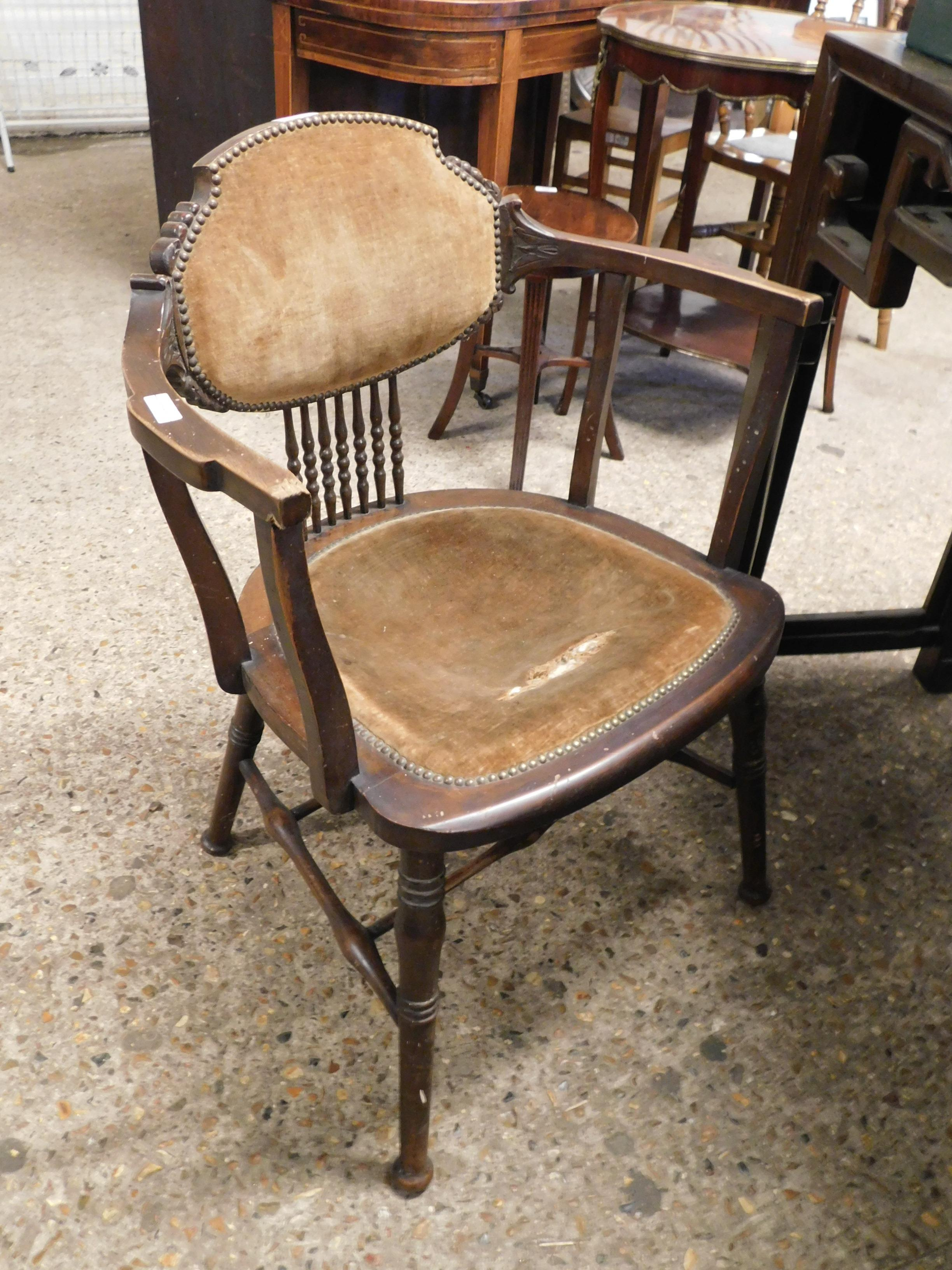 Lot 141 - EDWARDIAN MAHOGANY FRAMED ARMCHAIR WITH UPHOLSTERED SEAT AND BACK WITH SPINDLE DETAIL