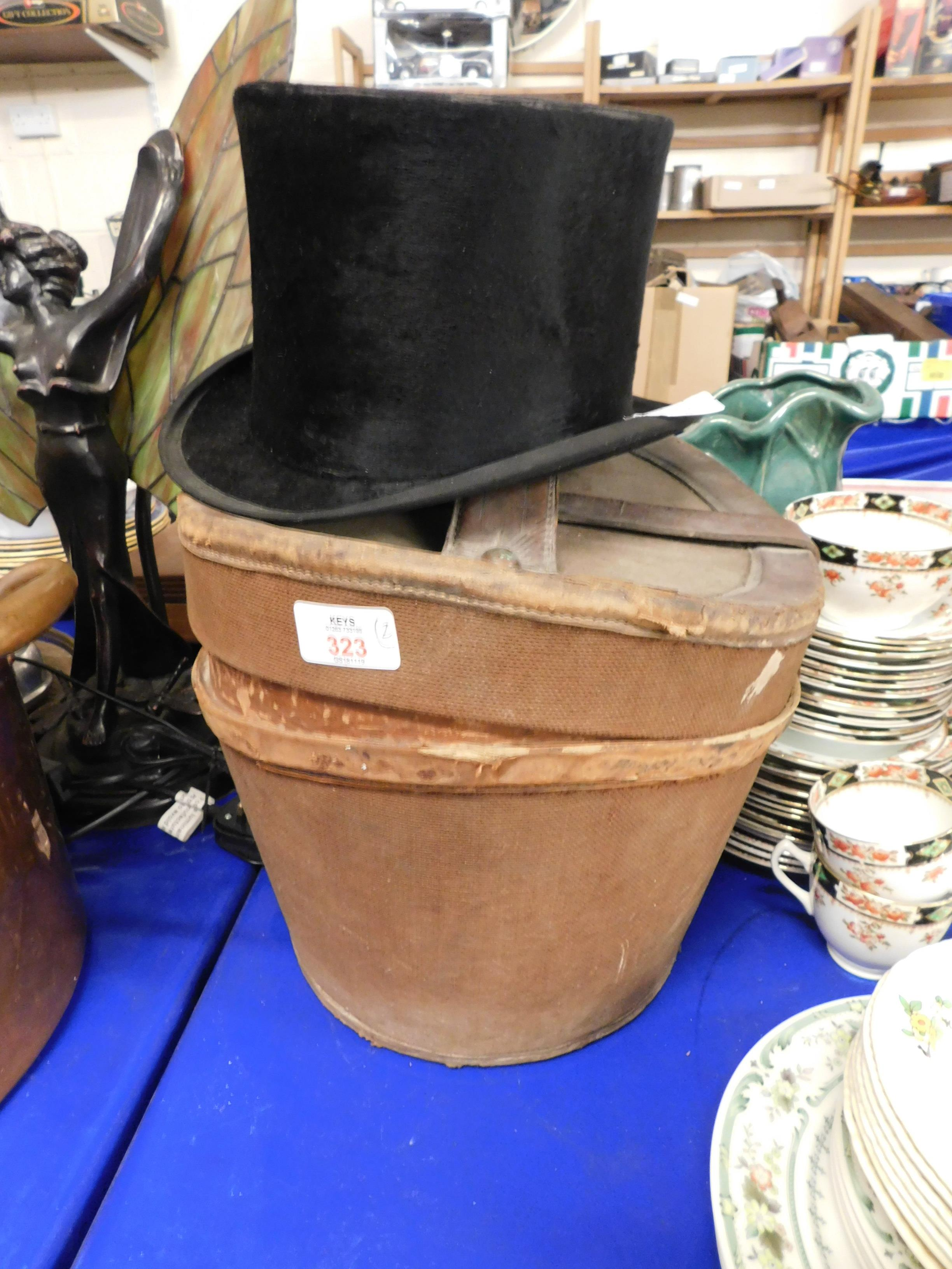 Lot 323 - TWO SILK TOP HATS (ONE BOXED)