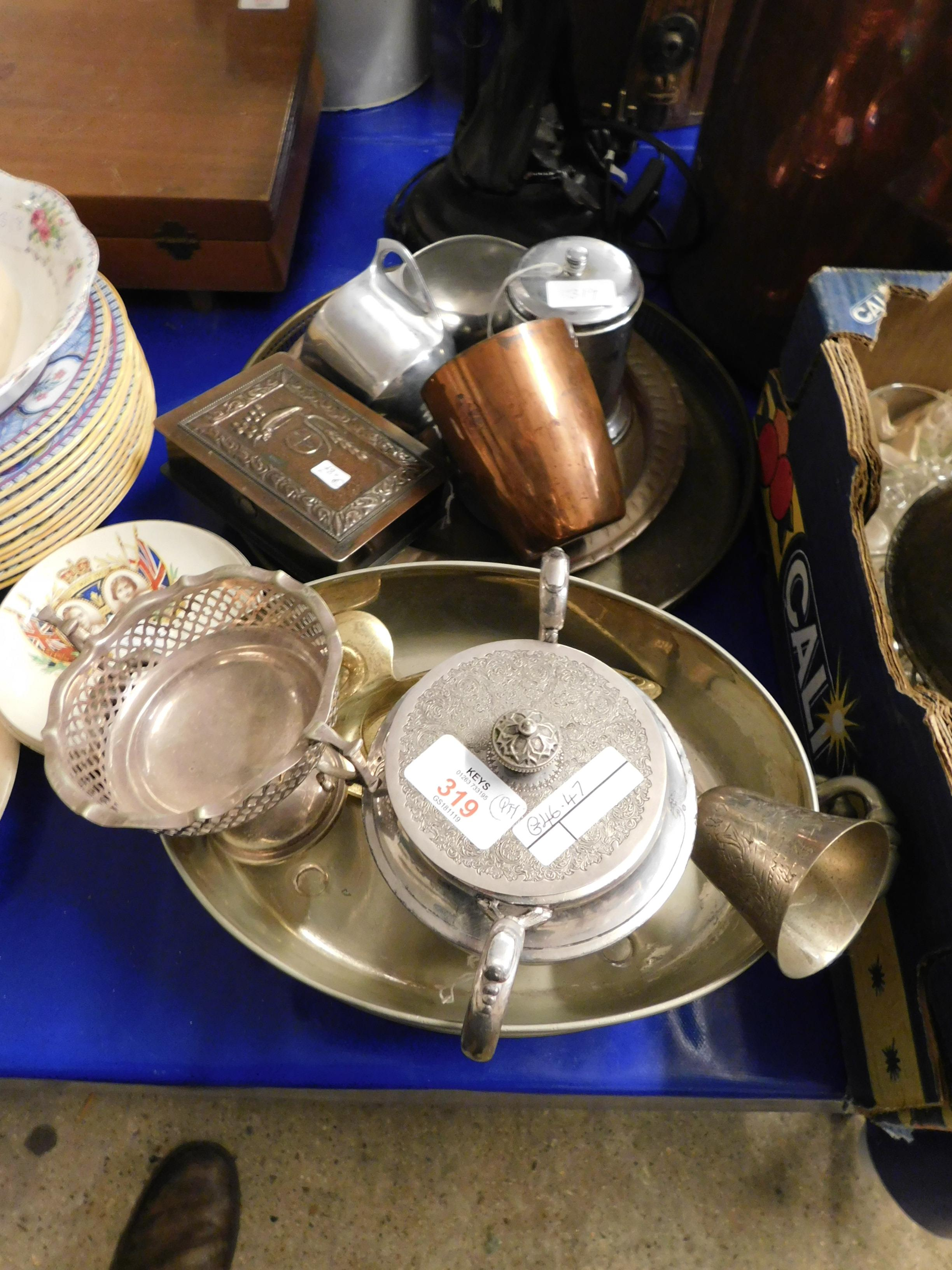 Lot 319 - MIXED LOT OF SILVER PLATED WARES, DISHES, COPPER TANKARD ETC