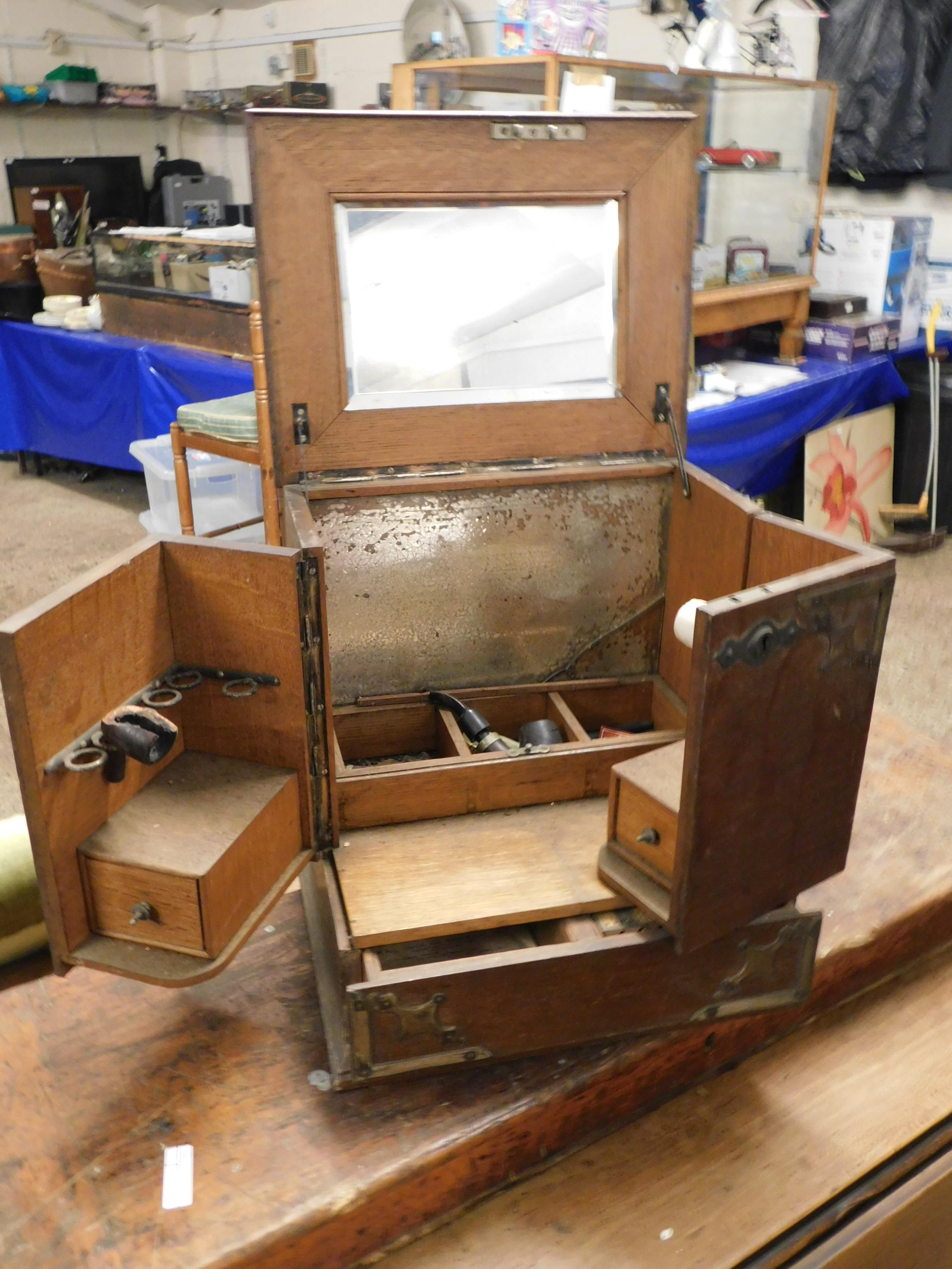 Lot 133 - 19TH CENTURY OAK SMOKER'S COMPENDIUM WITH LIFT UP TOP WITH INSET MIRROR AND OPENING COMPARTMENTS AND