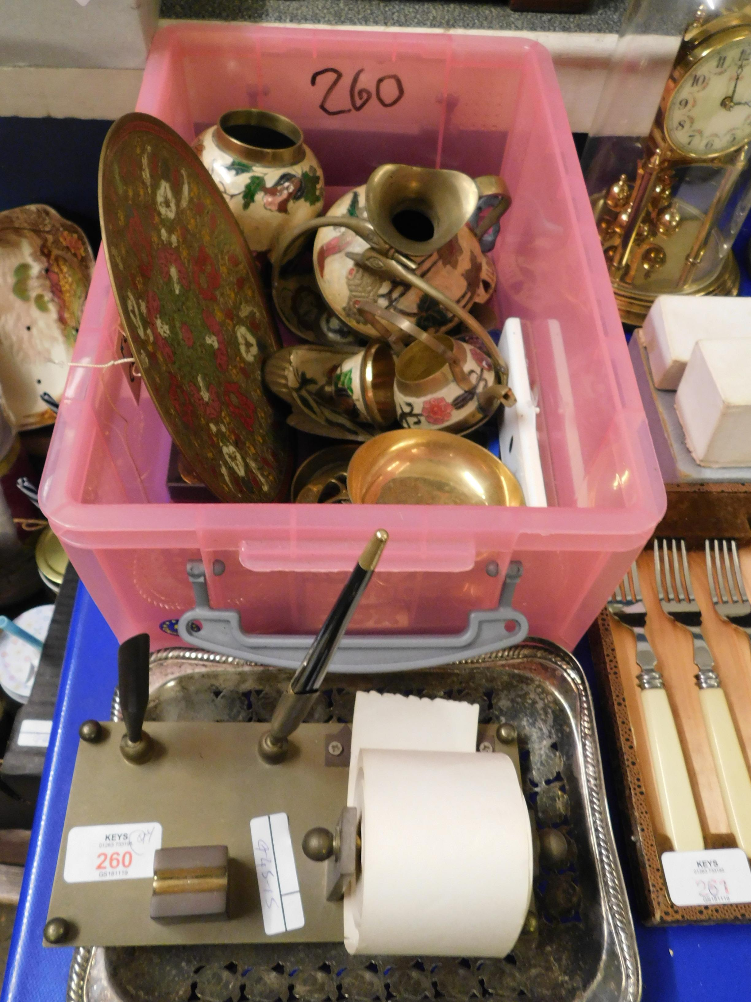 Lot 260 - BOX TO INCLUDE INDIAN ENAMELLED VASES, DISHES ETC TOGETHER WITH BRASS LETTER SET AND SILVER PLATED