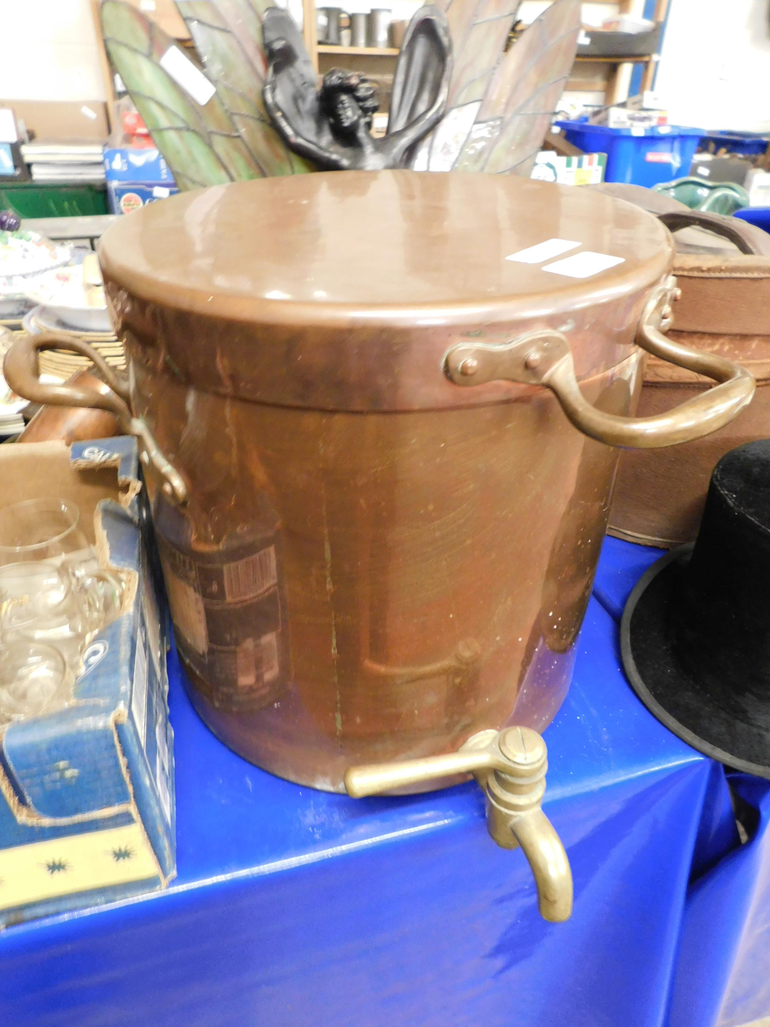 Lot 321 - GOOD QUALITY HEAVY COPPER BOILER WITH BRASS TAP AND LID