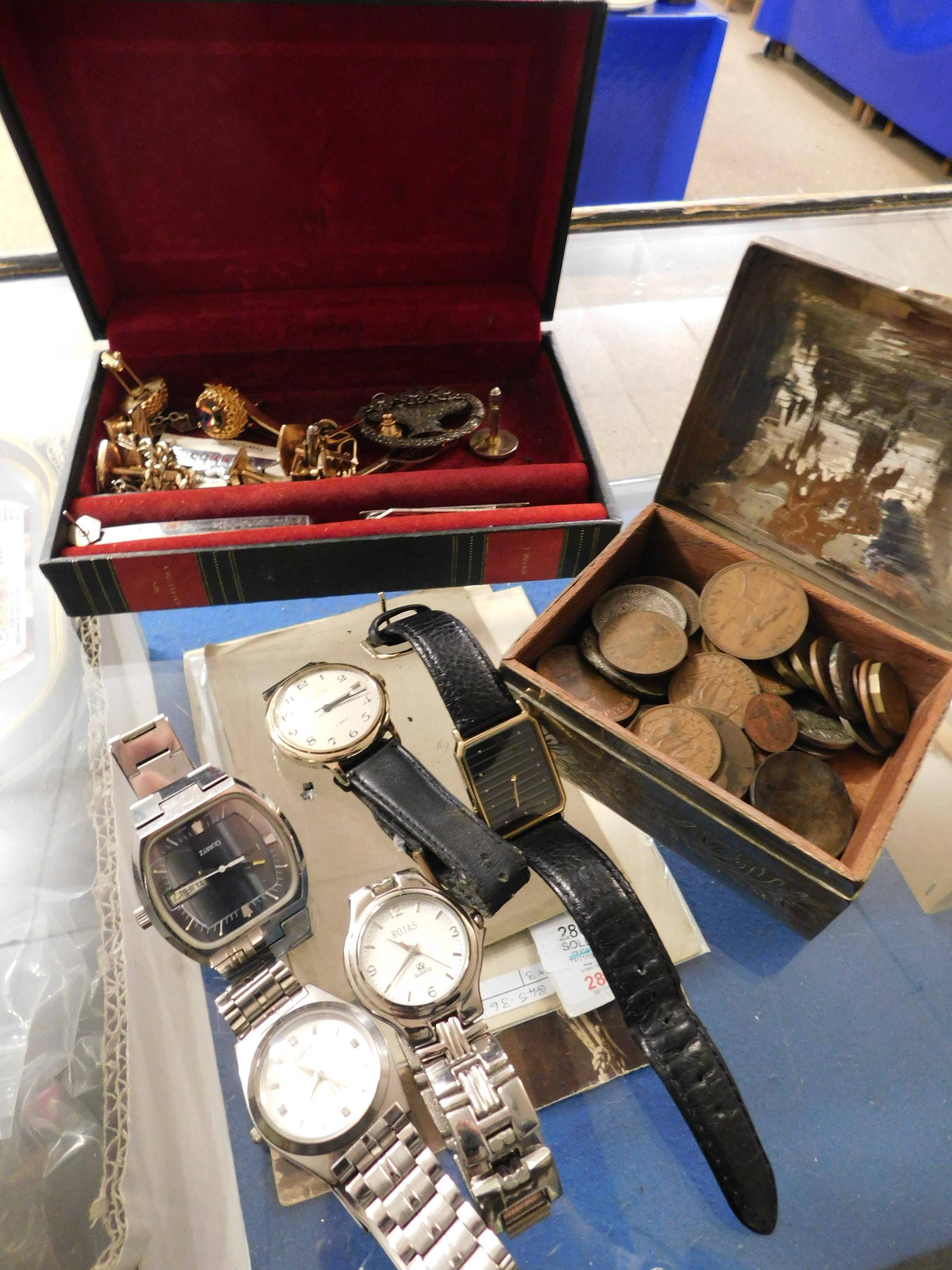 Lot 309 - BOX CONTAINING MIXED POSTCARDS, COINAGE, COSTUME JEWELLERY, WATCHES ETC
