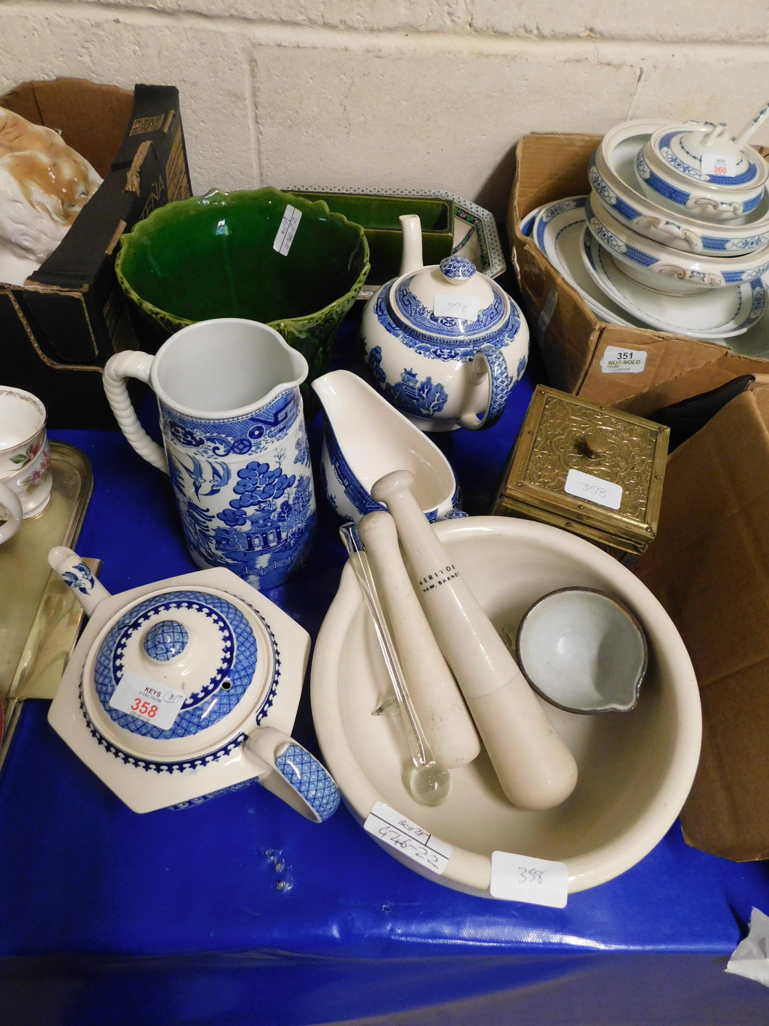 Lot 358 - MIXED LOT OF BLUE PRINTED TEA POTS, JUG, PESTLE AND MORTAR ETC