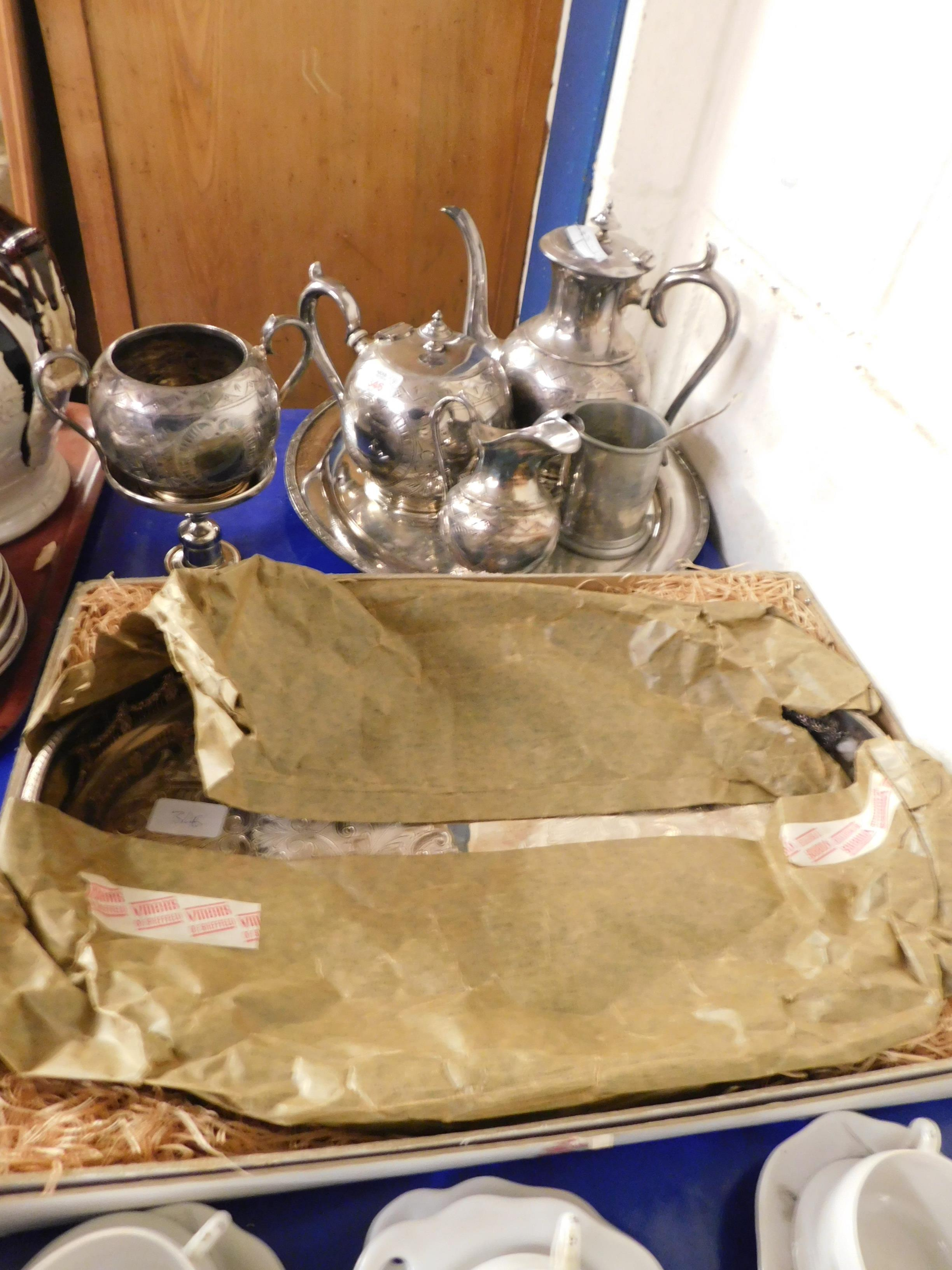 Lot 346 - GOOD QUALITY FOUR PIECE SILVER PLATED TEA SET, TRAY ETC