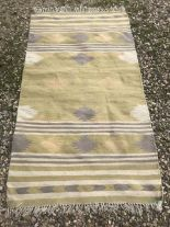 Lot 724 - Rug, modern coarse ground rug in yellow and neutral stripes 183x112cm