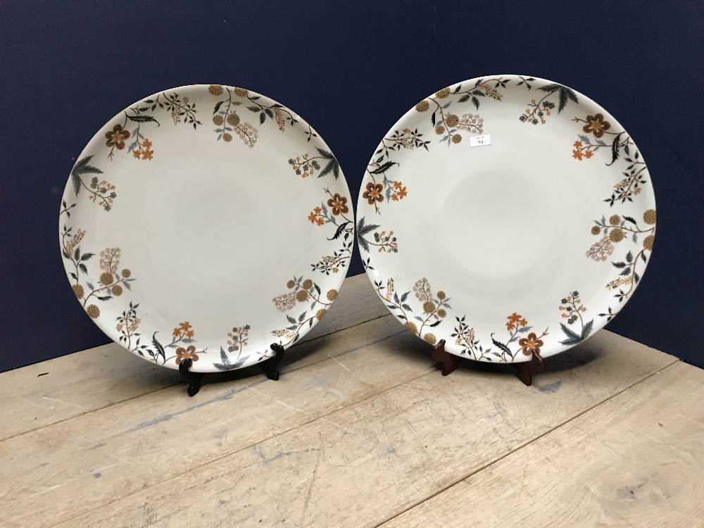 Lot 94 - Pair of de Gournay hand-turned and hand-painted polychrome & gilt massive Chinese porcelain chargers