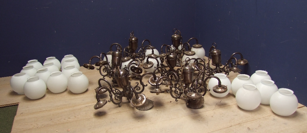 Lot 1 - General Clearance Lots: Seven 5 branch chandeliers with white glass shades