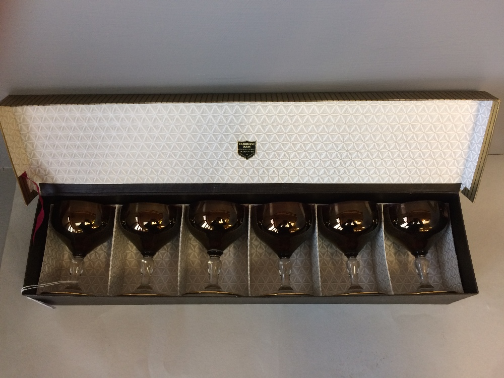 """Lot 120 - Set of 6 boxed goblets, """"Beautifired ware"""""""