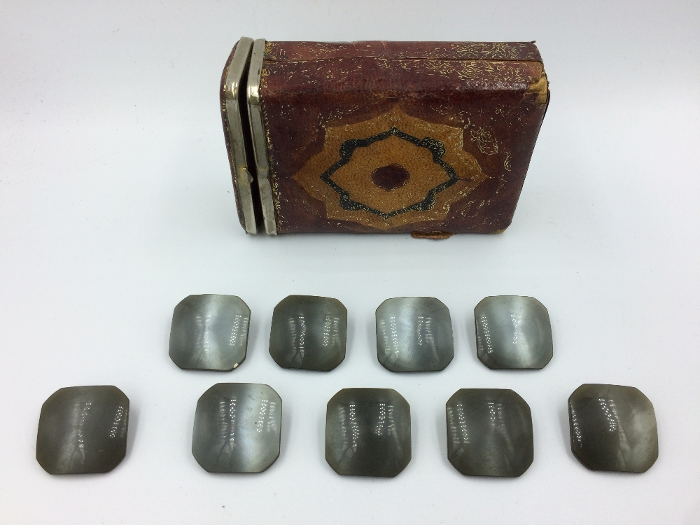 Lot 115 - Shagreen wooden box, London made & leather box with button stud set & Turkish cigarette box with
