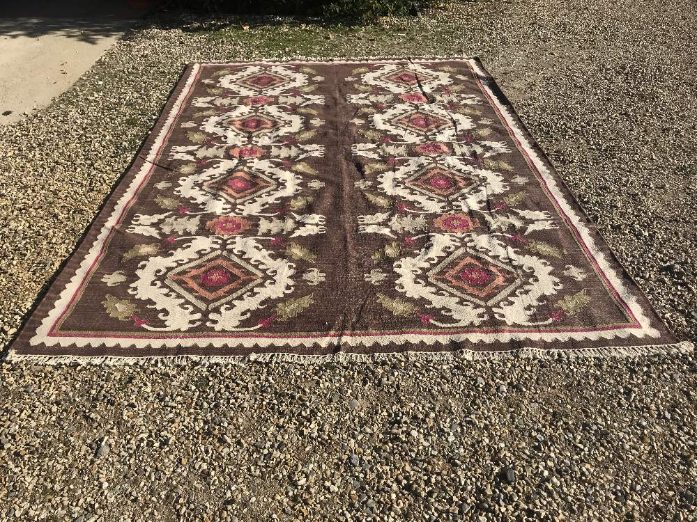 Lot 726 - OKA rug, light brown & cream ground with pinks & floral motifs 365x254cm (cost £1000 new)