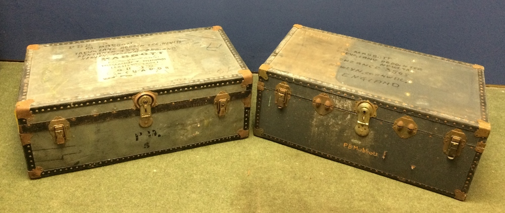 Lot 7 - General Clearance Lots: 2 travelling trunks bearing the name PB Mabbott