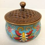Lot 231 - C20th Oriental bronze cloisonee lidded incense burner 8H cm