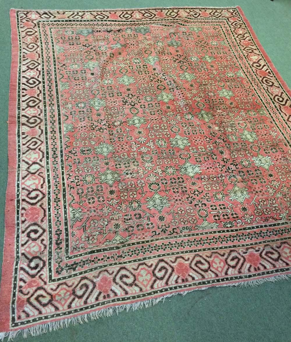 Lot 710 - Antique Samarkand carpet East Turkestan circa 1900 2.82 X 2.48m