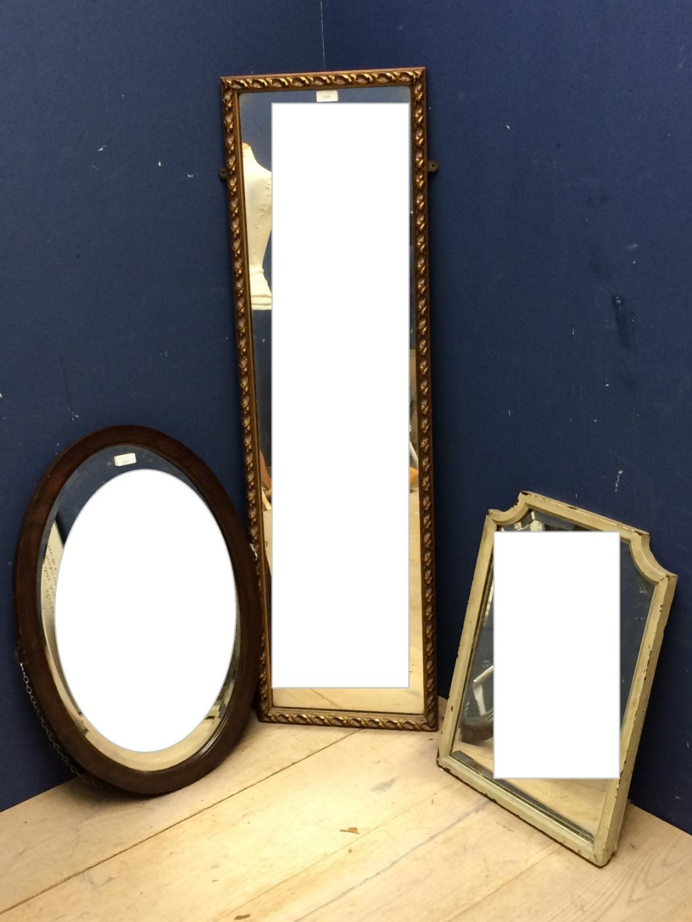Lot 4 - General Clearance Lots: Oak framed oval mirror with bevelled glass 67x47, gilt framed mirror