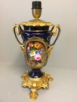 Lot 229 - C20th Paris porcelain & gilt metal 2 handled lamp 33H cm