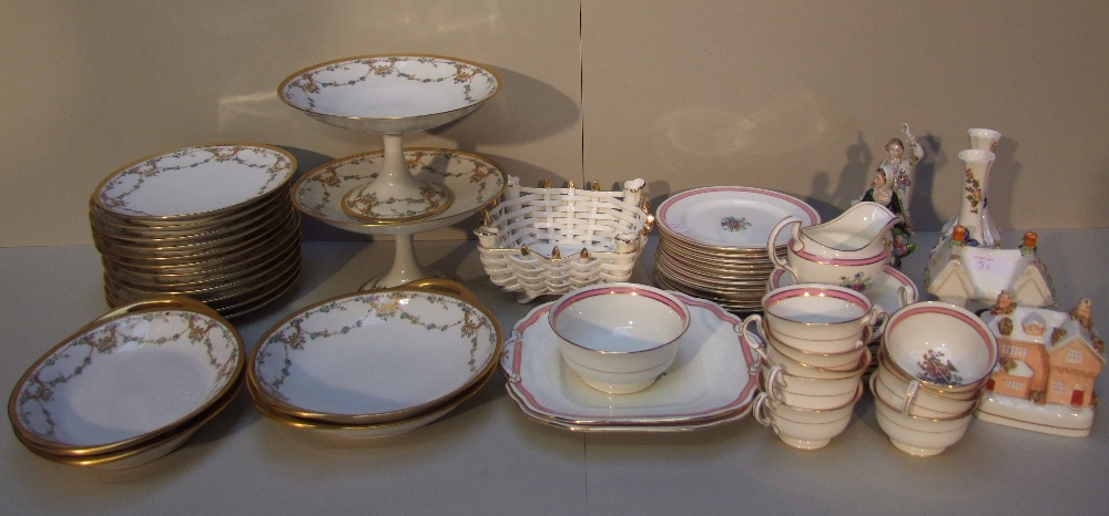 Lot 101 - Qty of china to include Aynsley tea service & de Havilland, Limoges etc & white basket weave dish,