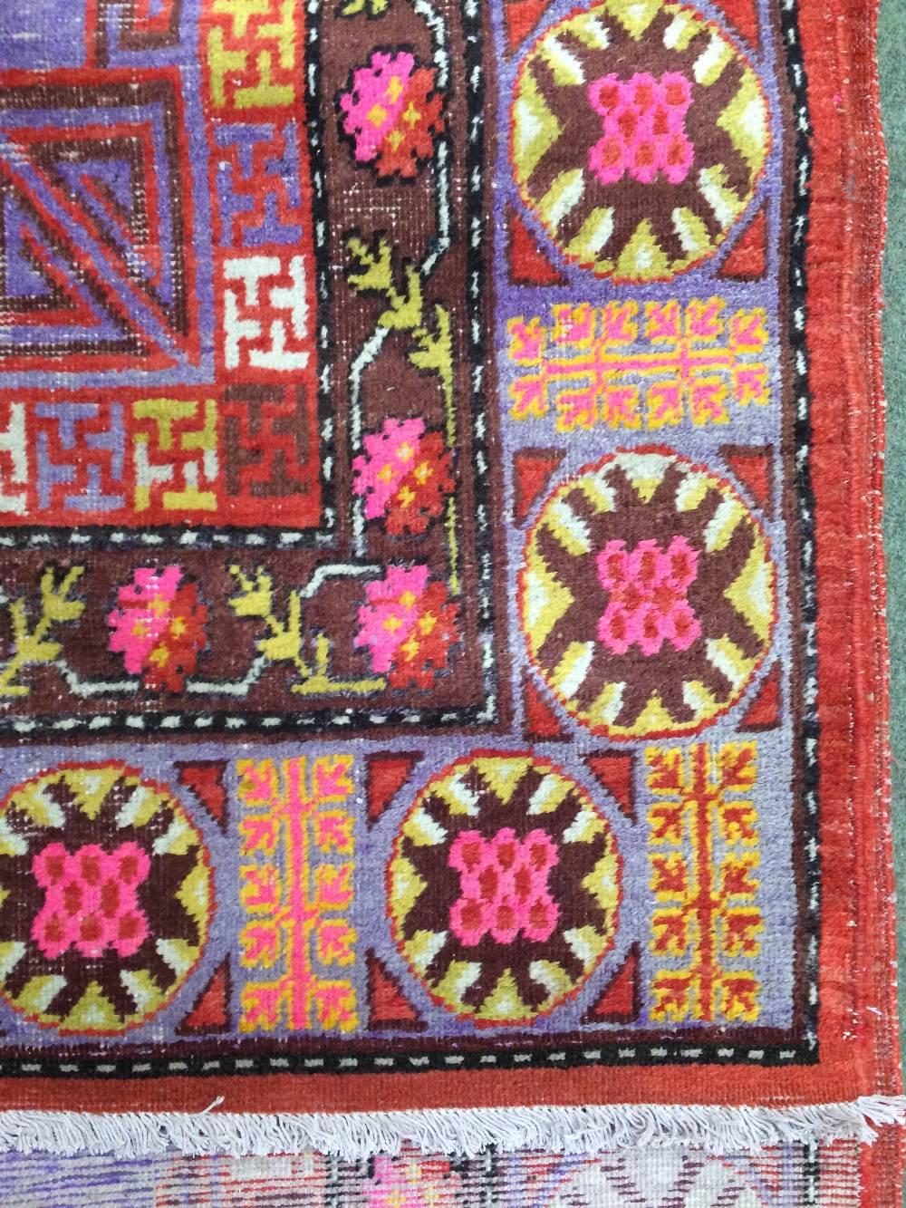 Lot 715 - Antique Samarkand carpet East Turkestan circa 1900 3.40 X 1.81m