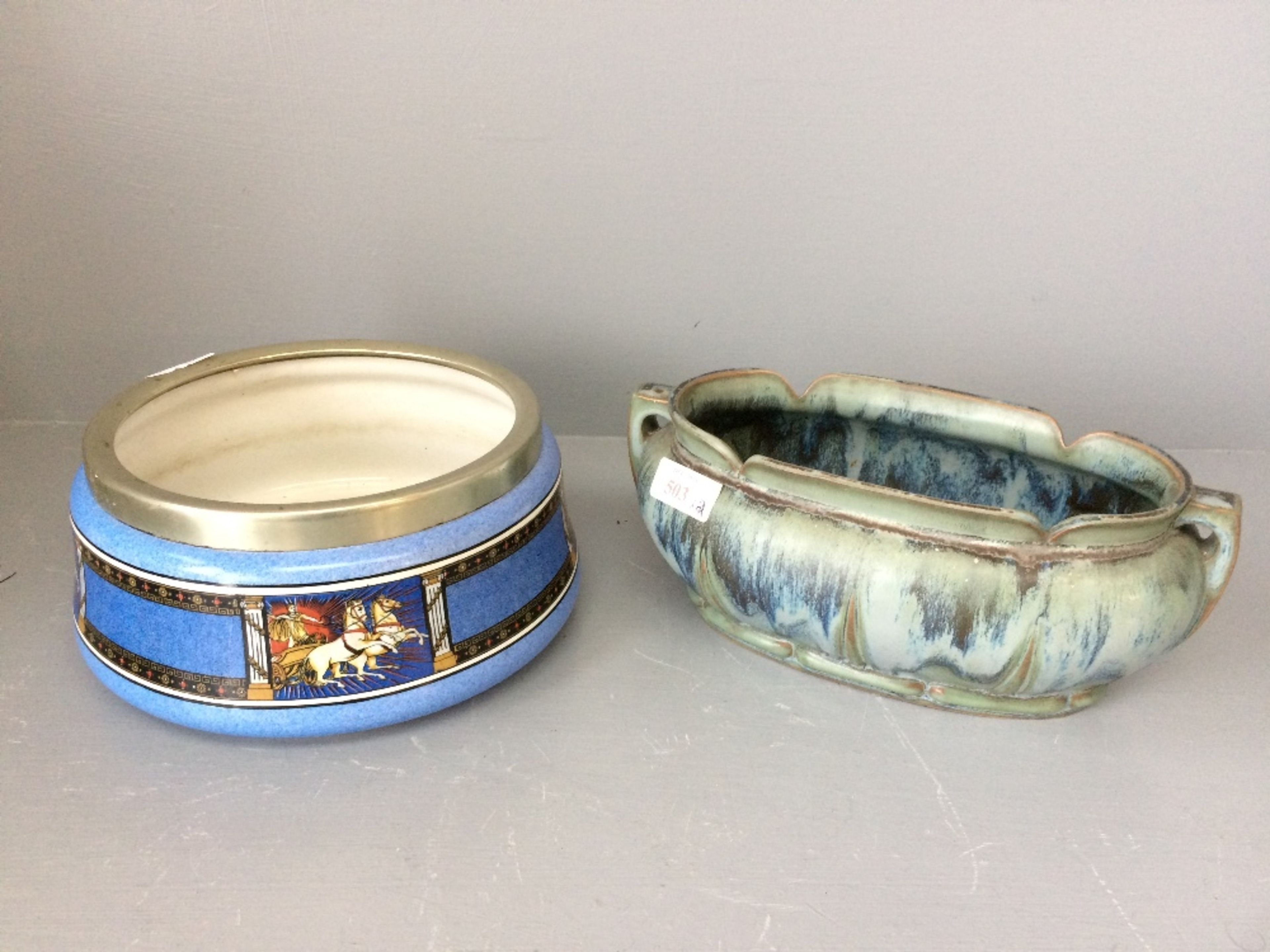 Lot 107 - Contemporary green planter & blue glazed dish painted to sides with plated rim depicting horses &