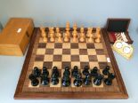 """Lot 102 - Full weighted bronze and black Staunton Chess set king 4.1/2"""" high with an inlaid felted wooden"""
