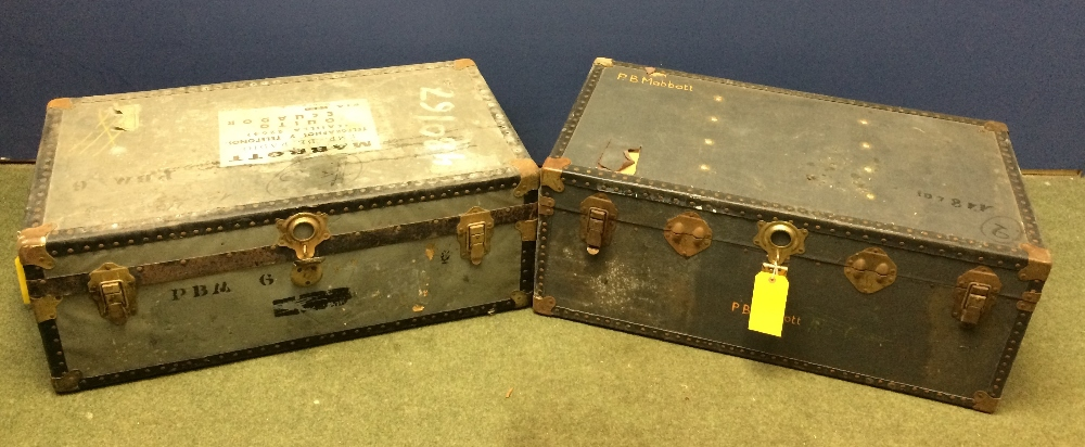 Lot 6 - General Clearance Lots: 2 Travelling trunks bearing the name PB Mabbott