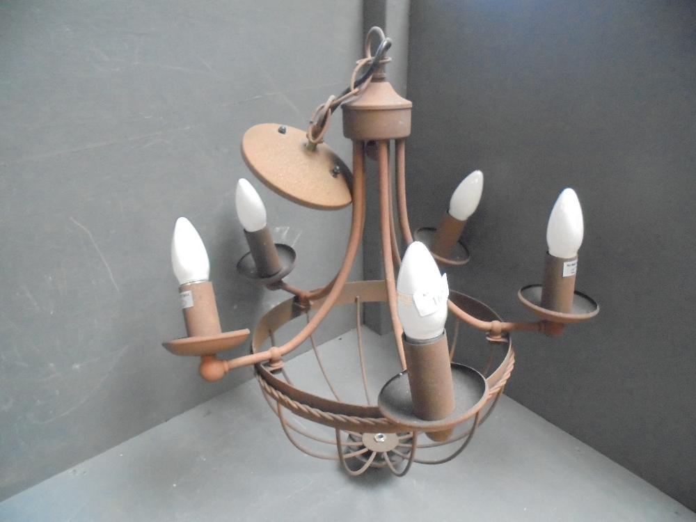Lot 3 - General Clearance Lot: Modern 'rust' effect 5 branch chandelier