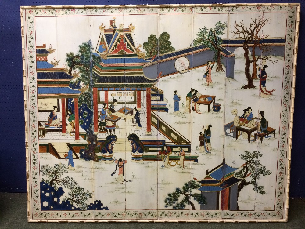 """Lot 104 - C20th """"Panel Chinese Scene with pagoda and figures at various activities"""" 127x155cm in faux bamboo"""