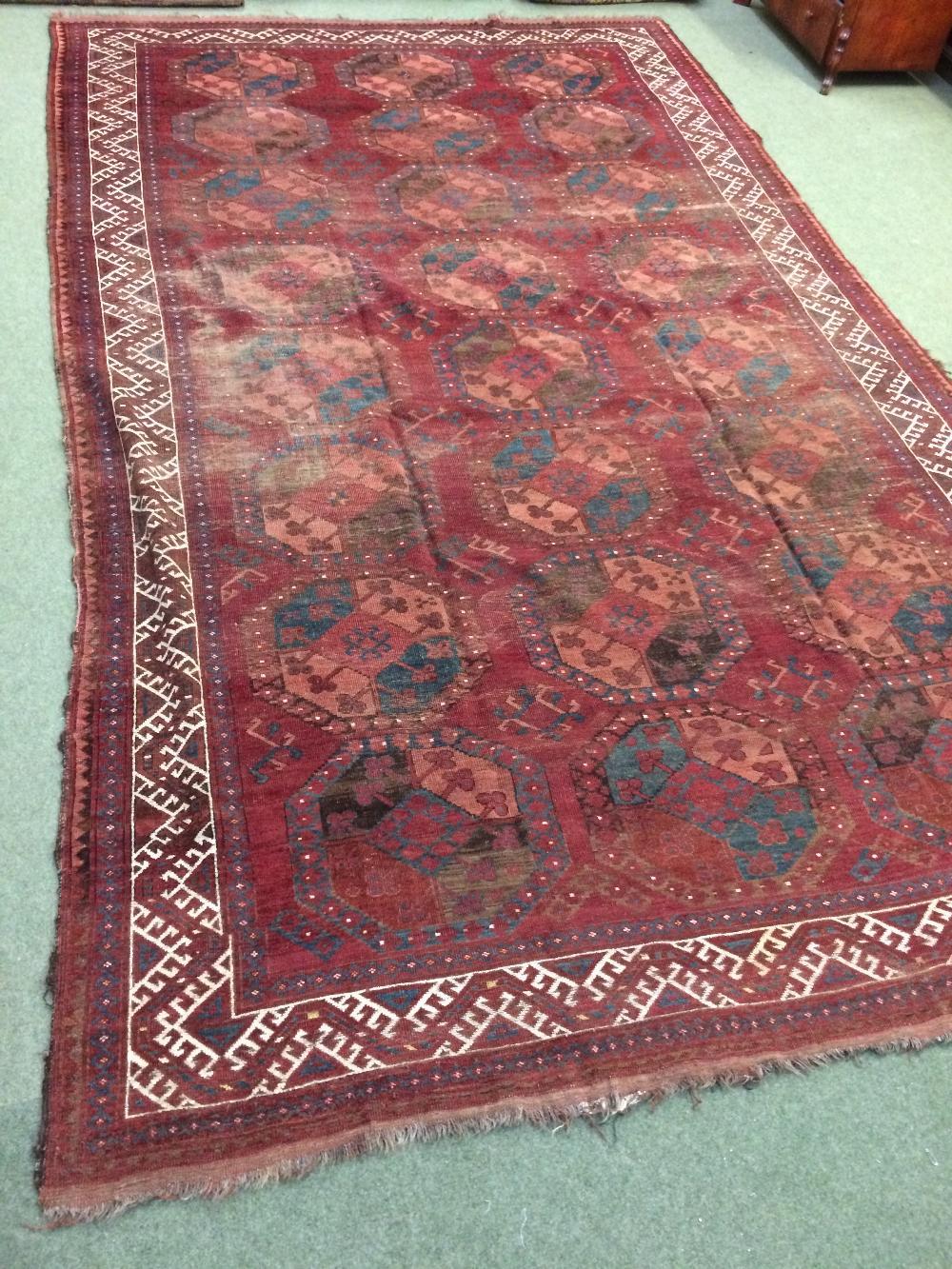 Lot 708 - Antique Ersari carpet Central Asia circa 1890 4.26 X 2.6m