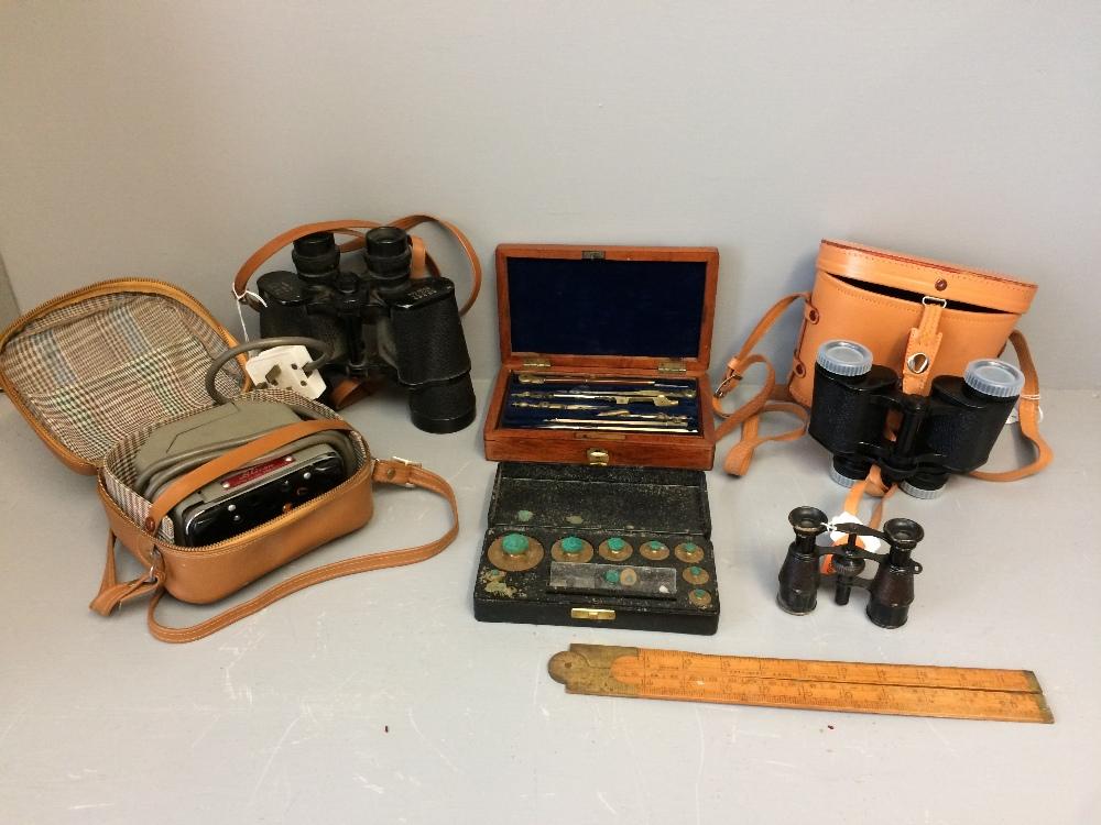 Lot 23 - General household clearance: slide projector, 3 binoculars, scales, draughtsmans set & ruler