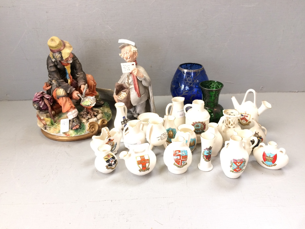 Lot 110 - Collection of Goss china, 2 silver overlay Venetian glasses, 2 Capo di Monte figures, the tramp &