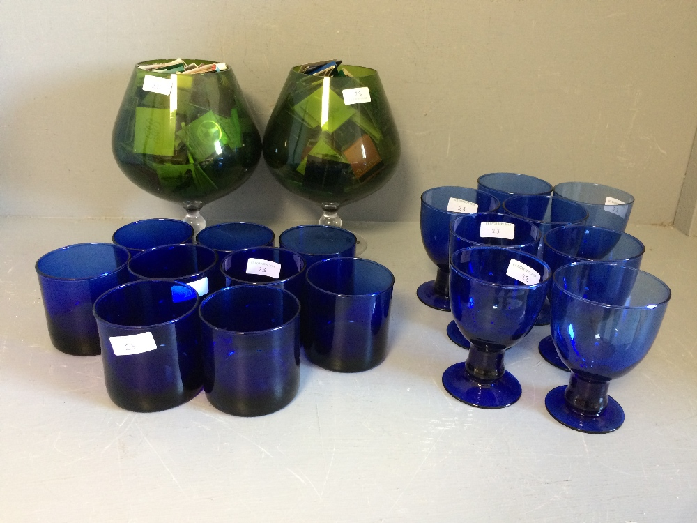 Lot 23 - Set of Bristol blue water glasses & a set of similar wine glasses, together with a pair of giant
