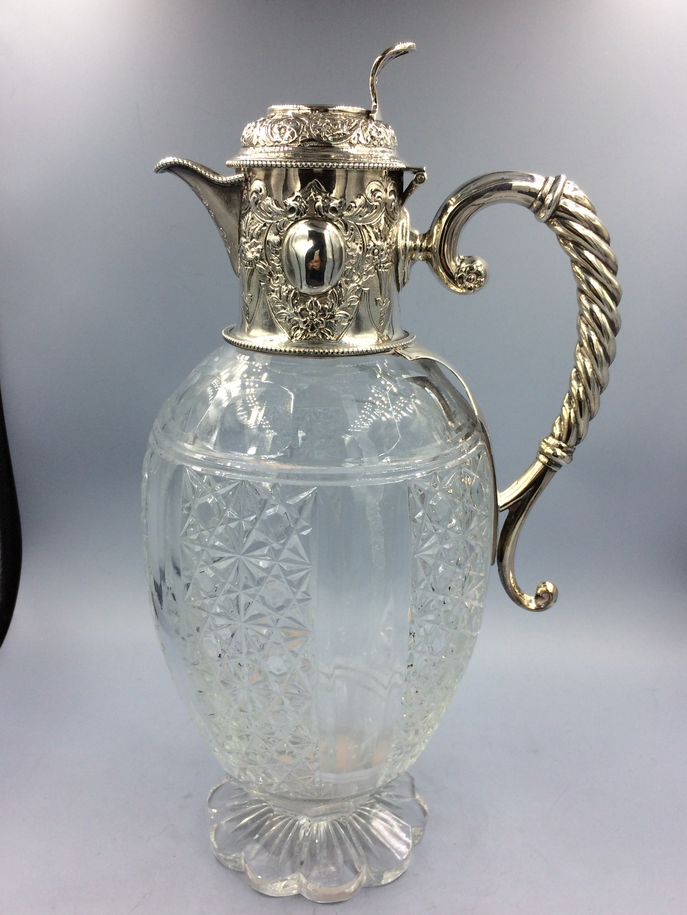 Lot 967 - Victorian silver mounted cut glass claret jug William & G Sissons Sheffield 1887