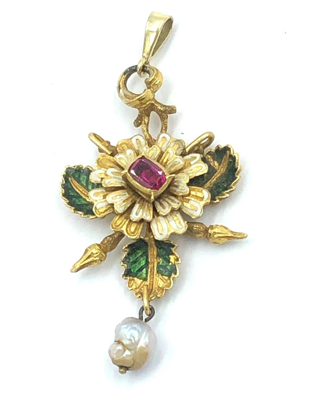 Lot 20 - NO ONLINE BIDDING LOTS 1-30. Unmarked C17th Italian ruby & enamel flower pendant