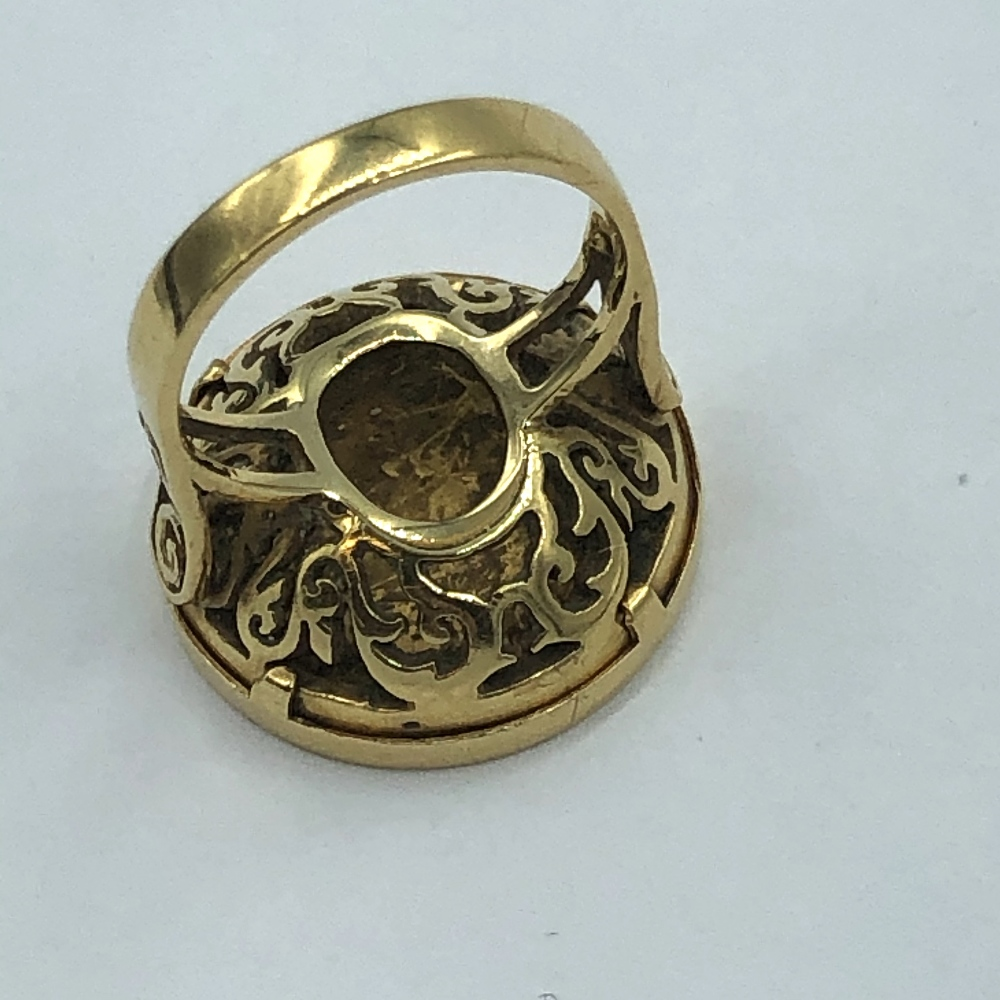 Lot 57 - Edwardian 1/2 soveriegn ring in 18ct gold mount 10.06g