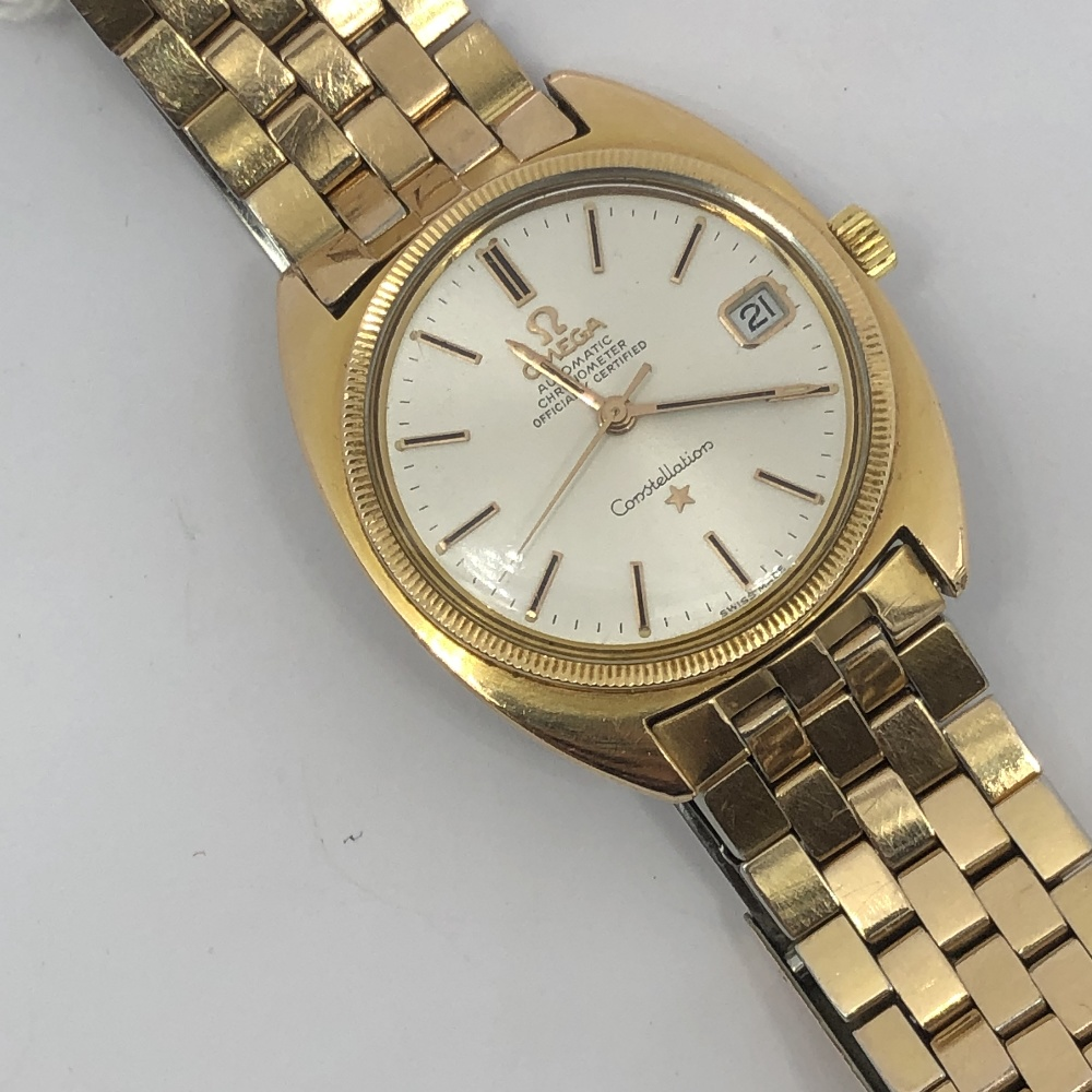 Lot 31 - Gentlemans gold plated automatic date wristwatch, signed, Omega automatic chronometer officialy