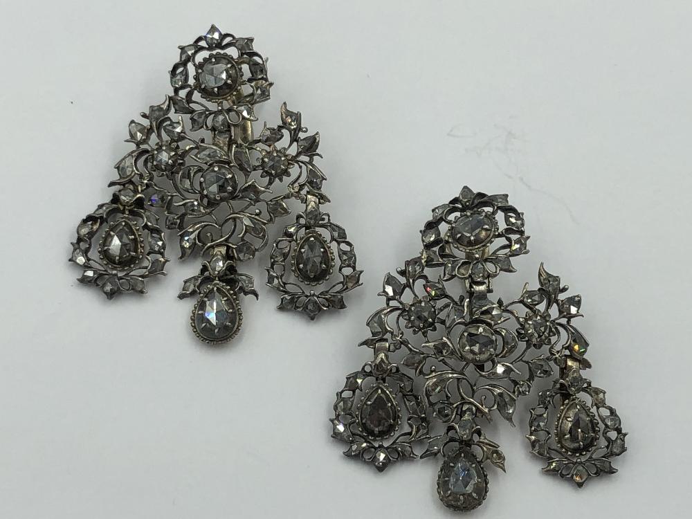 Lot 6 - NO ONLINE BIDDING LOTS 1-30. Pair of early 19th C white metal diamond chandelier earrings