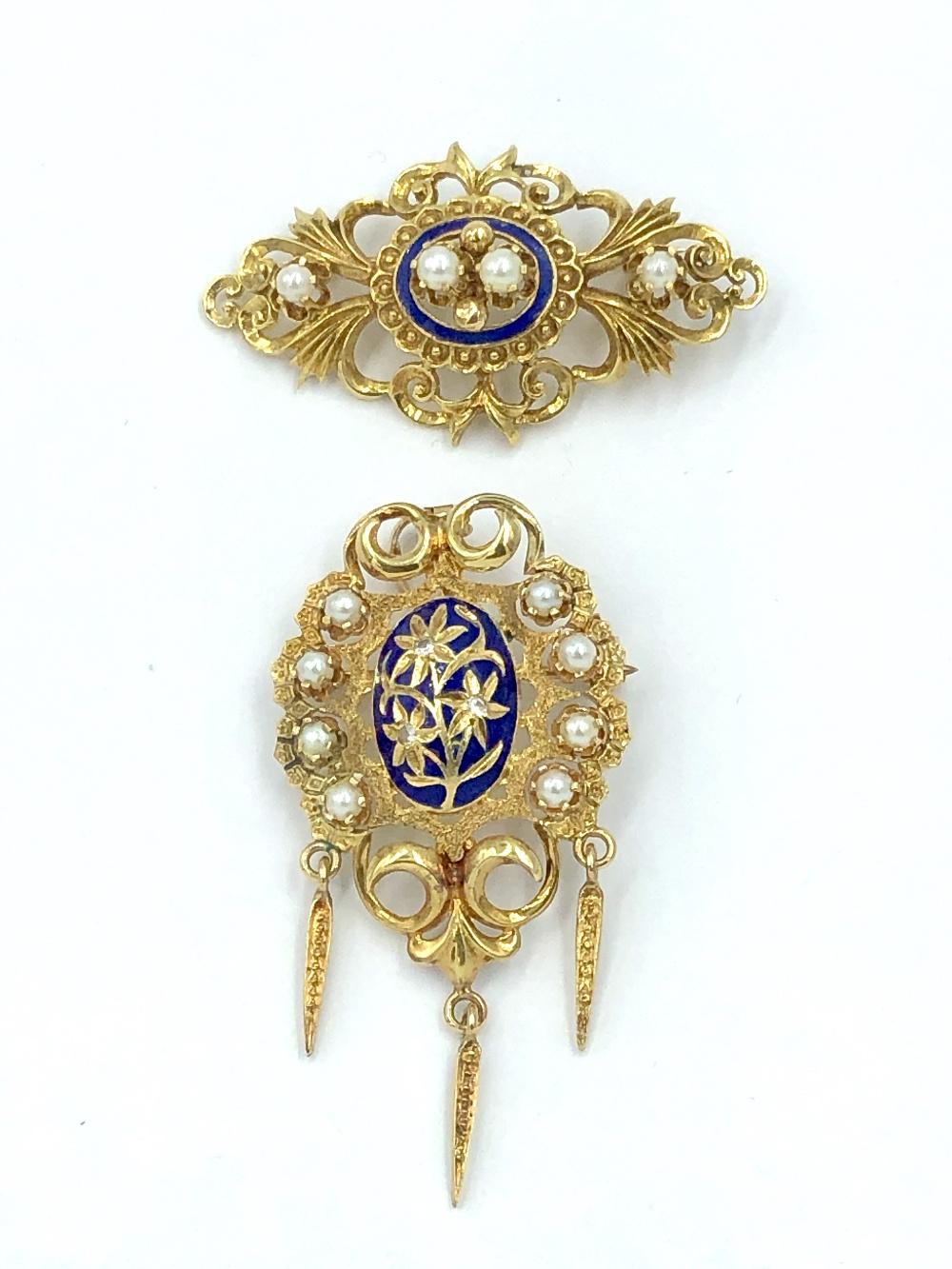 Lot 56 - 15ct Gold enamel & seed pearl pendant & brooch