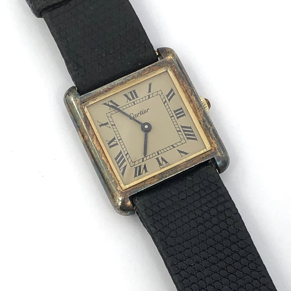 Lot 32 - Cartier sterling silver square faced wristwatch, automatic movement with Roman numeral markers &
