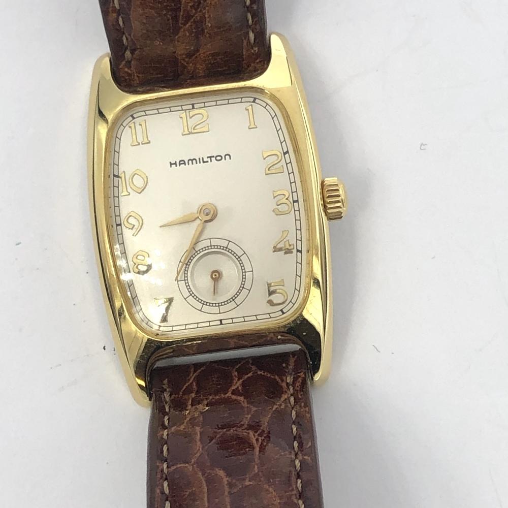 Lot 34 - Yellow metal Hamilton quartz movement wristwatch on brown leather strap
